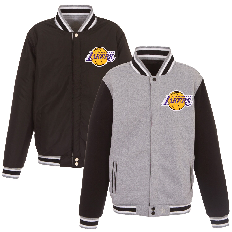 Los Angeles Lakers JH Design Embroidered Logo Reversible Fleece Full-Snap Jacket - Gray/Black
