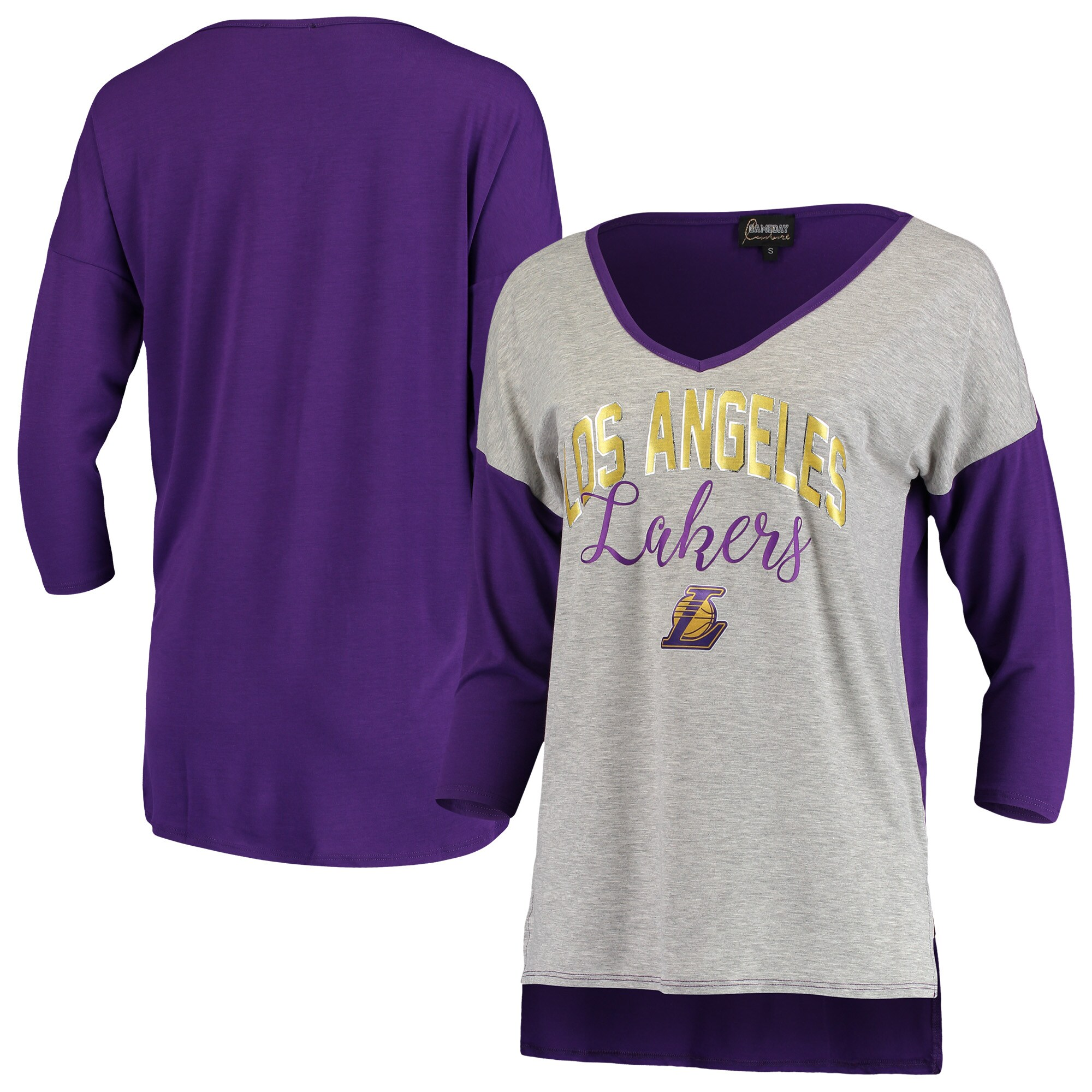 Los Angeles Lakers Women's Meet Your Match Colorblock 3/4-Sleeve Tri-Blend V-Neck T-Shirt - Heathered Gray