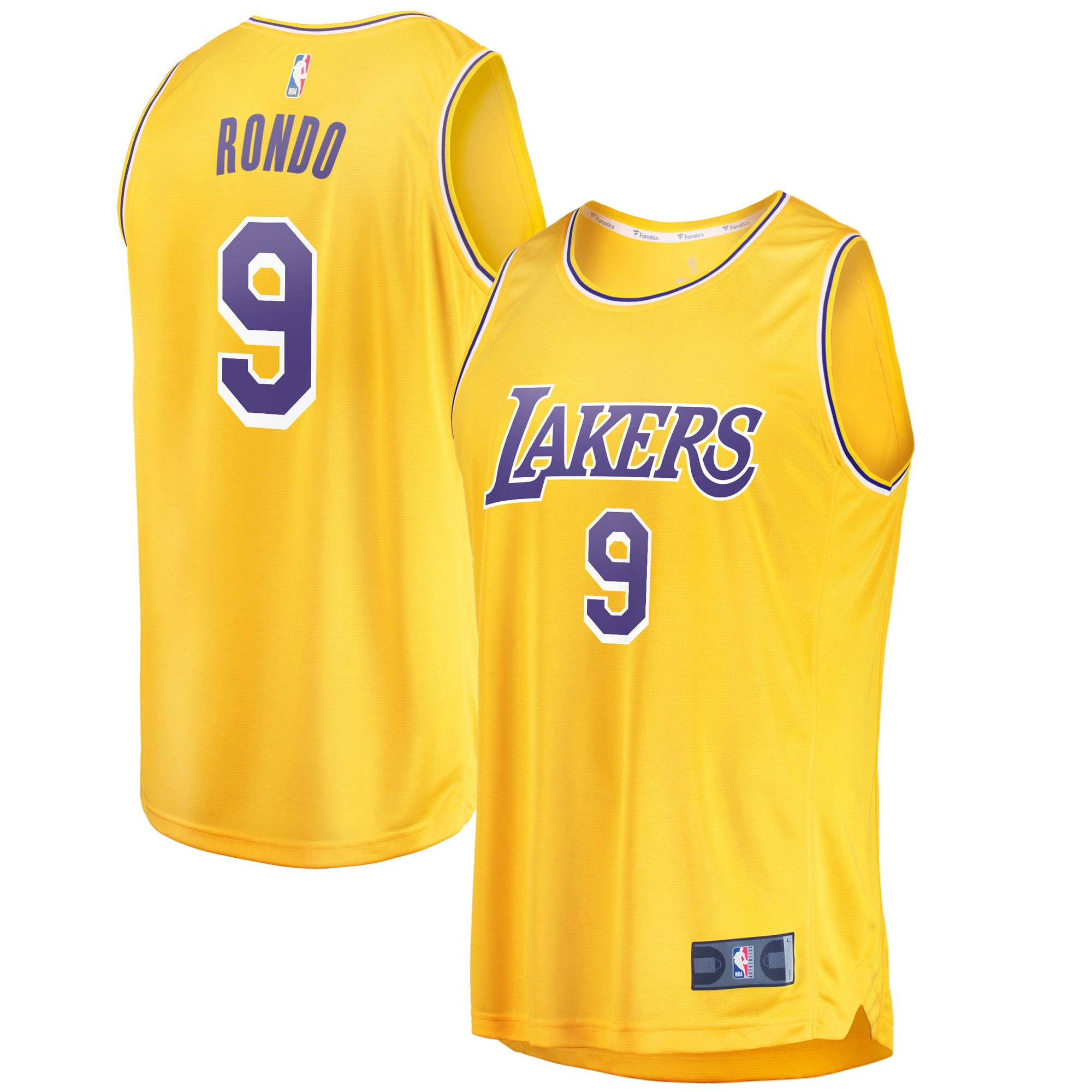 Rajon Rondo Los Angeles Lakers Fanatics Branded Youth Fast Break Replica Jersey Gold - Icon Edition