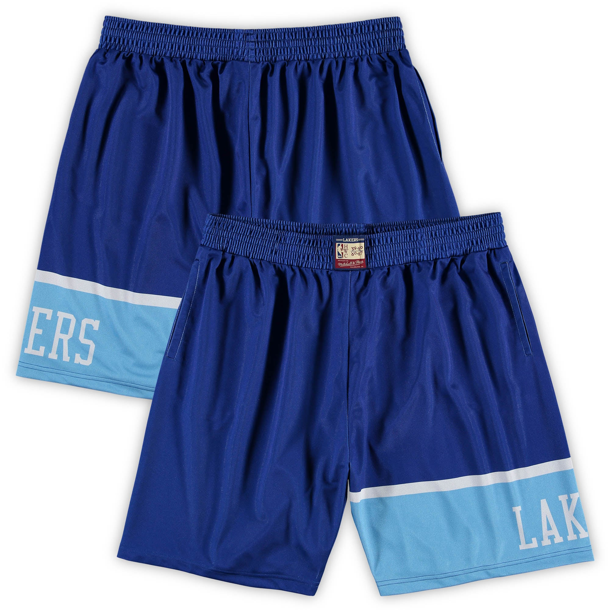 Los Angeles Lakers Mitchell & Ness Hardwood Classics Big & Tall Team Heritage Dazzle Shorts - Royal