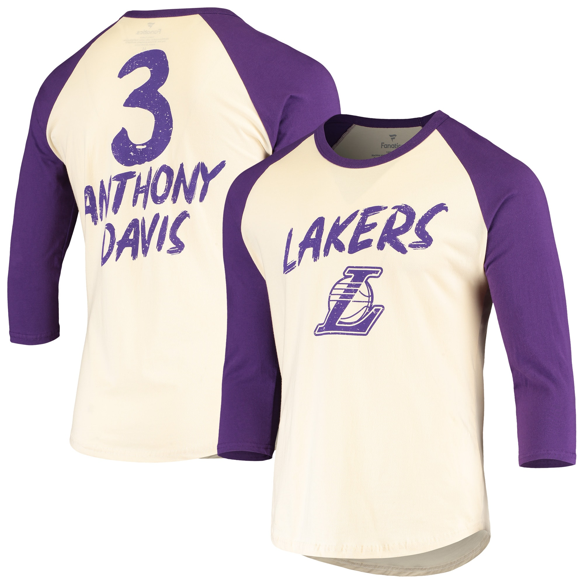 Anthony Davis Los Angeles Lakers Fanatics Branded Raglan 3/4 Sleeve T-Shirt - Cream/Purple