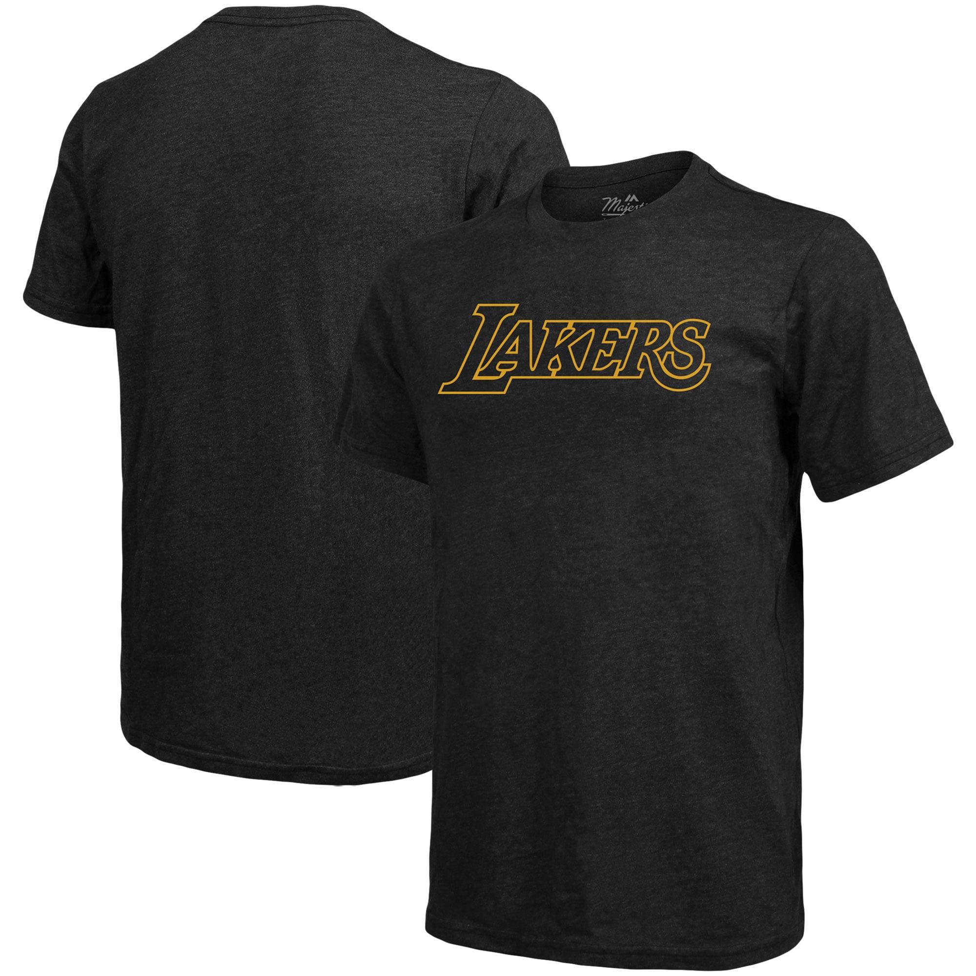 Los Angeles Lakers Majestic Threads Wordmark Tri-Blend T-Shirt - Black