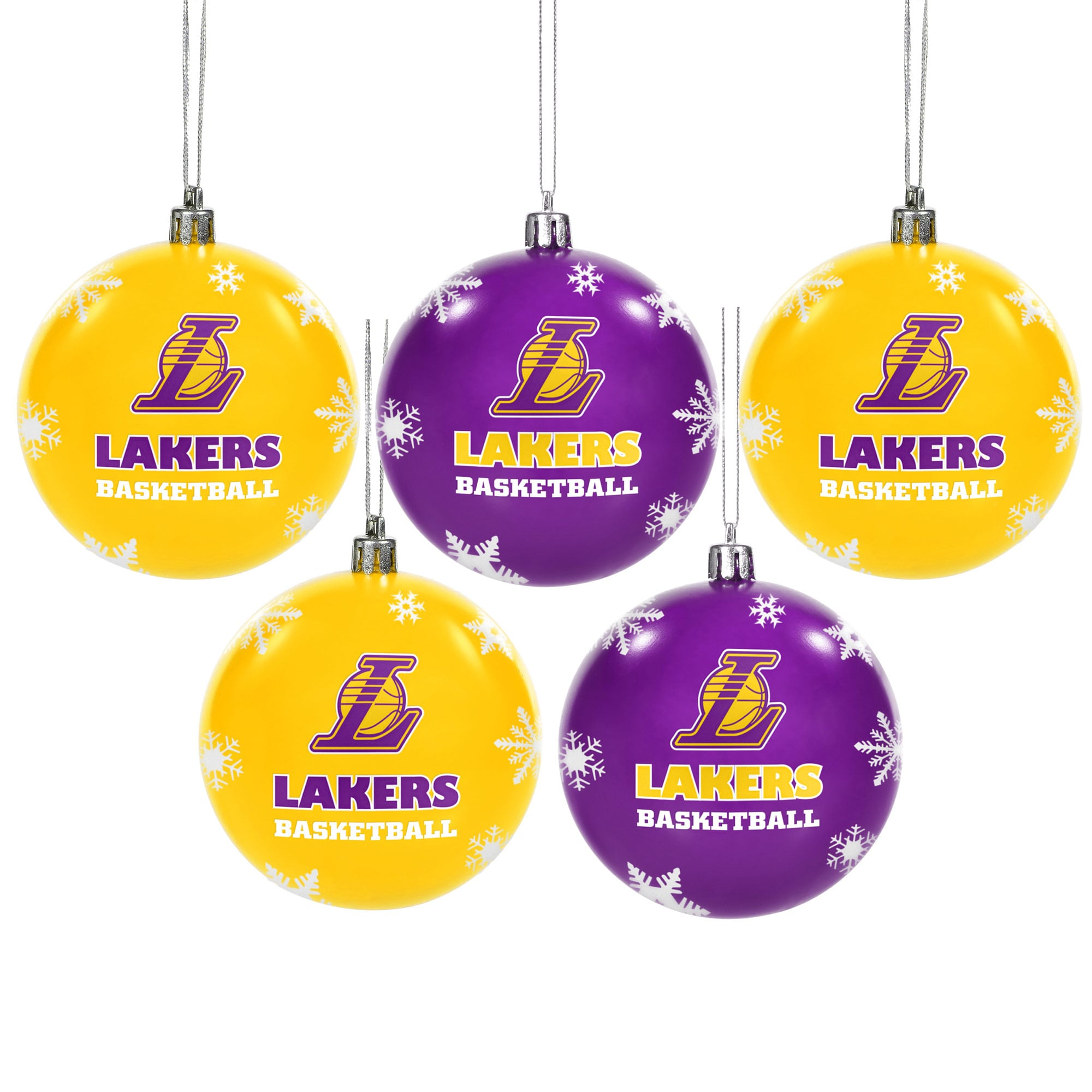 Los Angeles Lakers 5-Pack Shatterproof Ball Ornaments