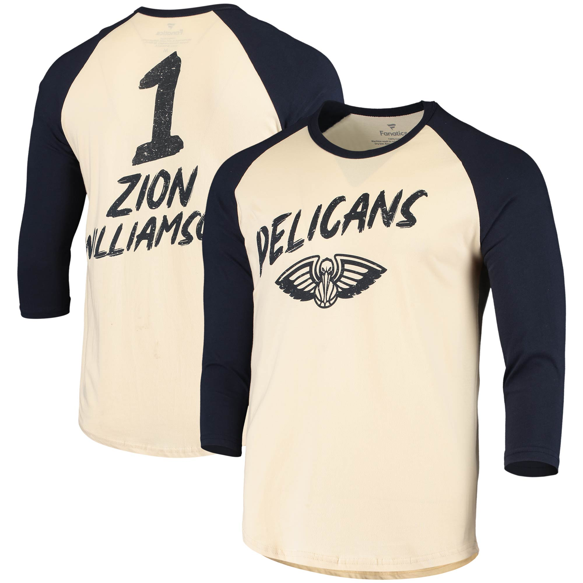 Zion Williamson New Orleans Pelicans Fanatics Branded Raglan 3/4 Sleeve T-Shirt - Cream/Navy