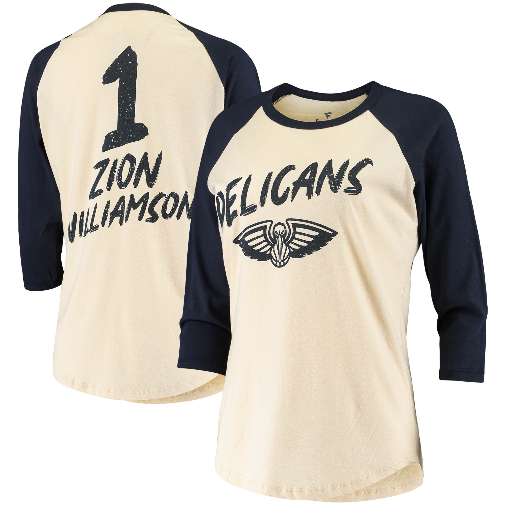 Zion Williamson New Orleans Pelicans Fanatics Branded Women's Raglan 3/4-Sleeve T-Shirt - Cream