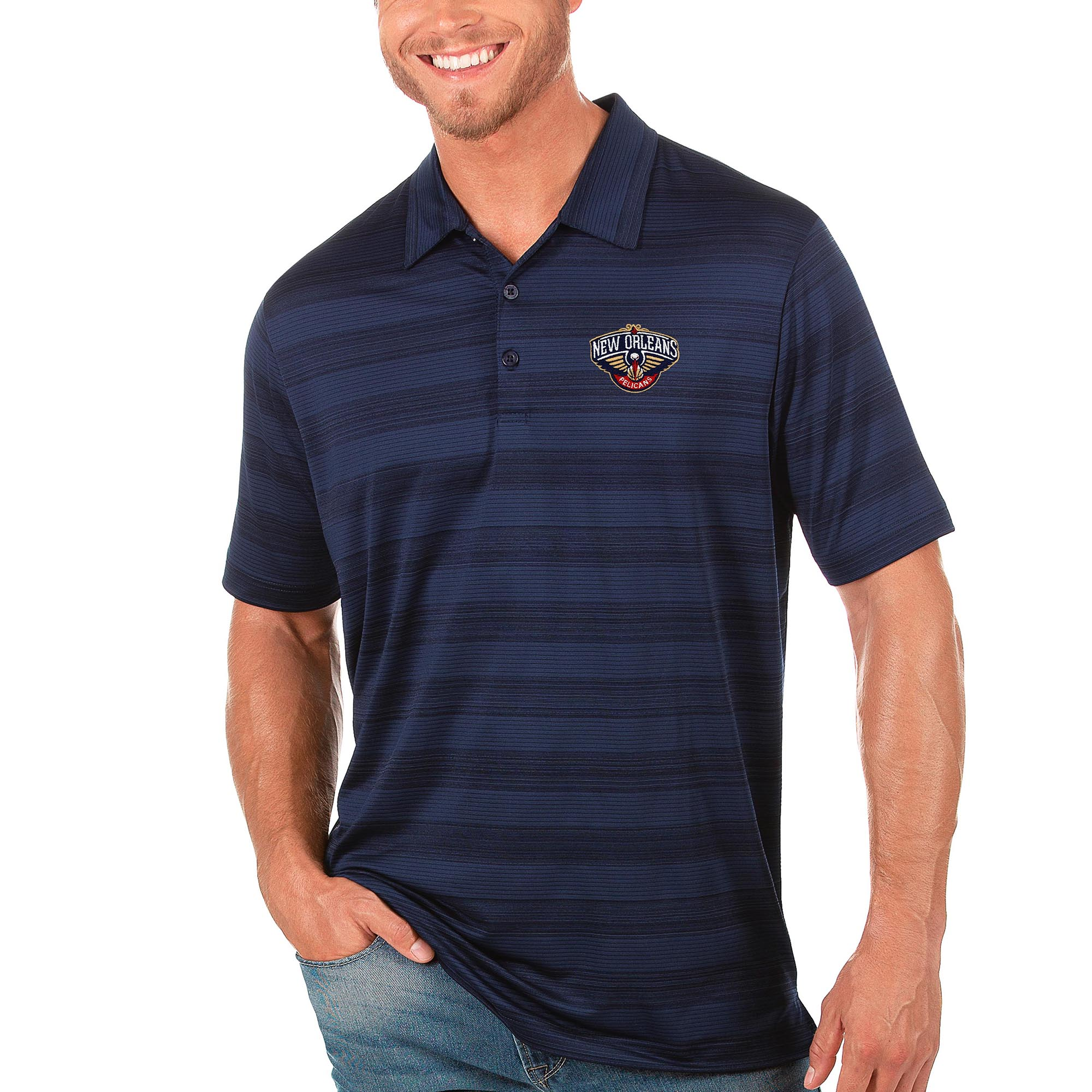 New Orleans Pelicans Antigua Compass Polo - Navy