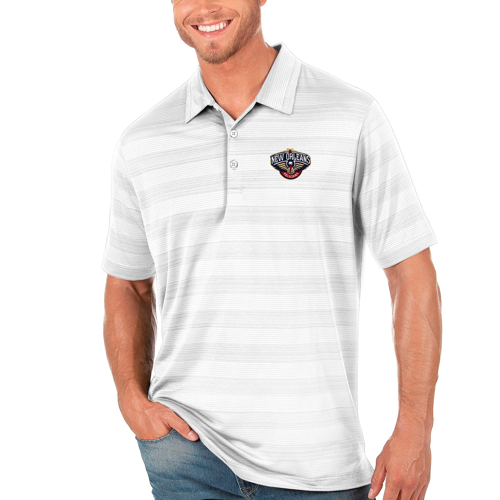 New Orleans Pelicans Antigua Compass Polo - White