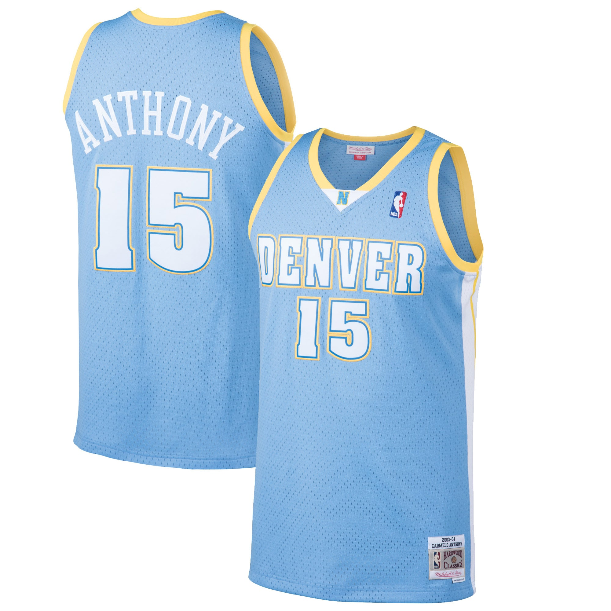 Carmelo Anthony Denver Nuggets Mitchell & Ness 2003-04 Hardwood Classics Swingman Jersey - Light Blue