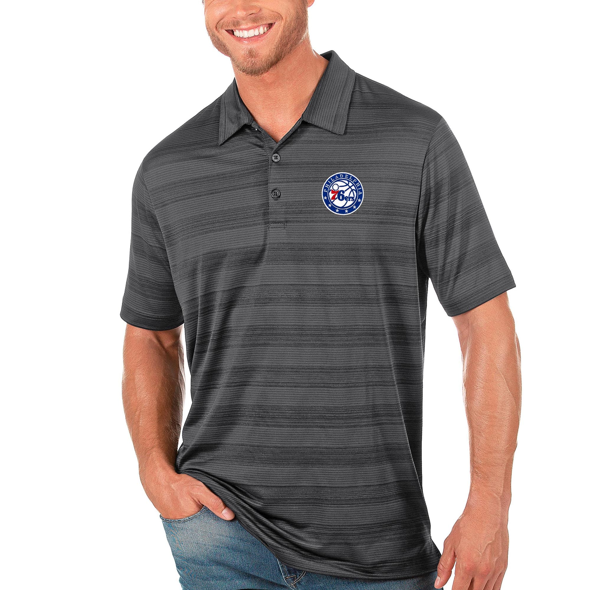Philadelphia 76ers Antigua Compass Polo - Gray