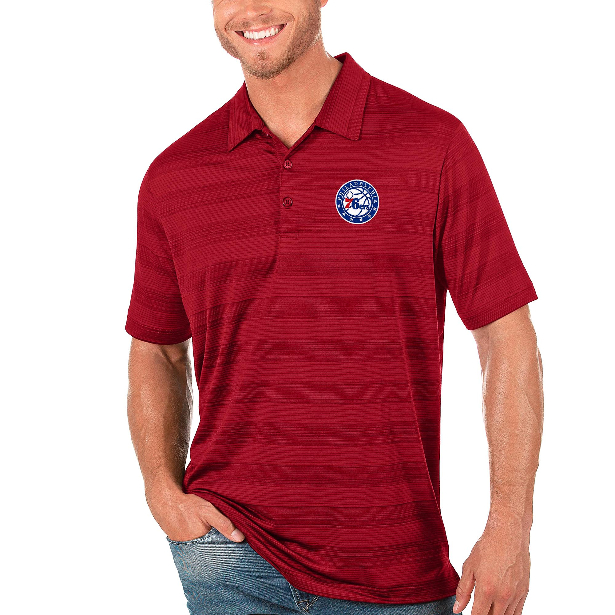 Philadelphia 76ers Antigua Compass Polo - Red
