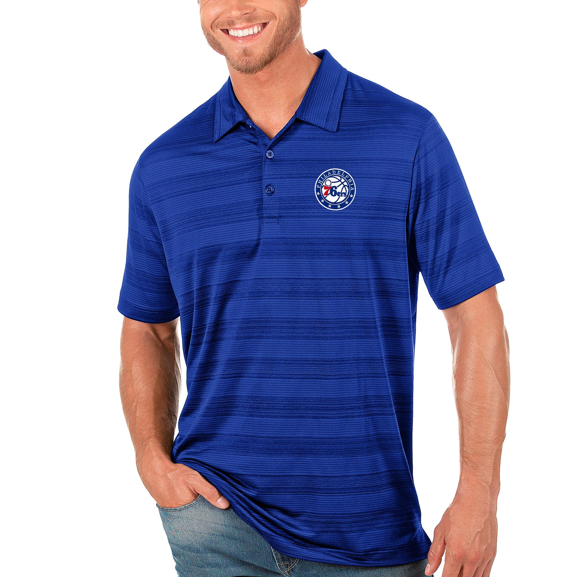 Philadelphia 76ers Antigua Compass Polo - Royal