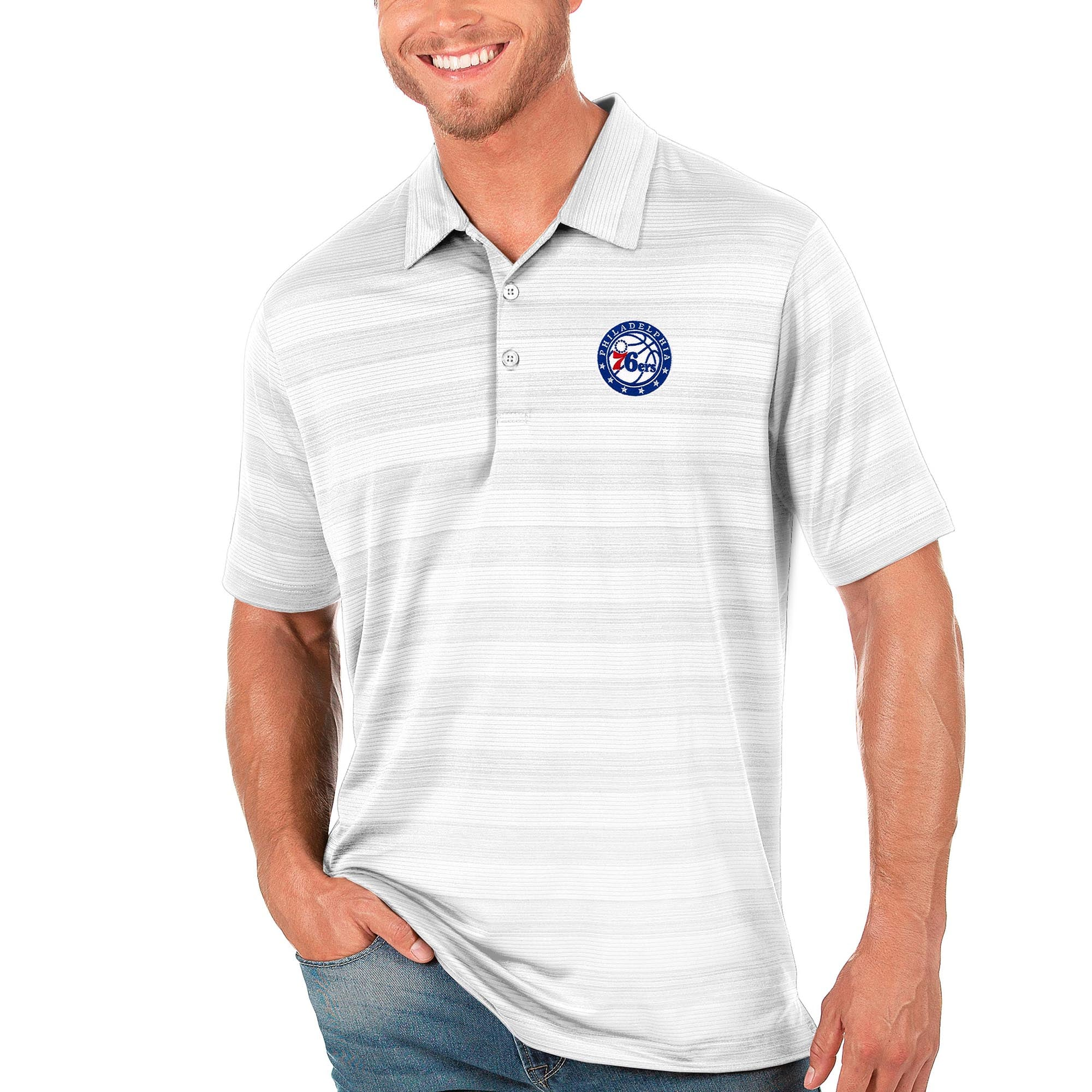 Philadelphia 76ers Antigua Compass Polo - White
