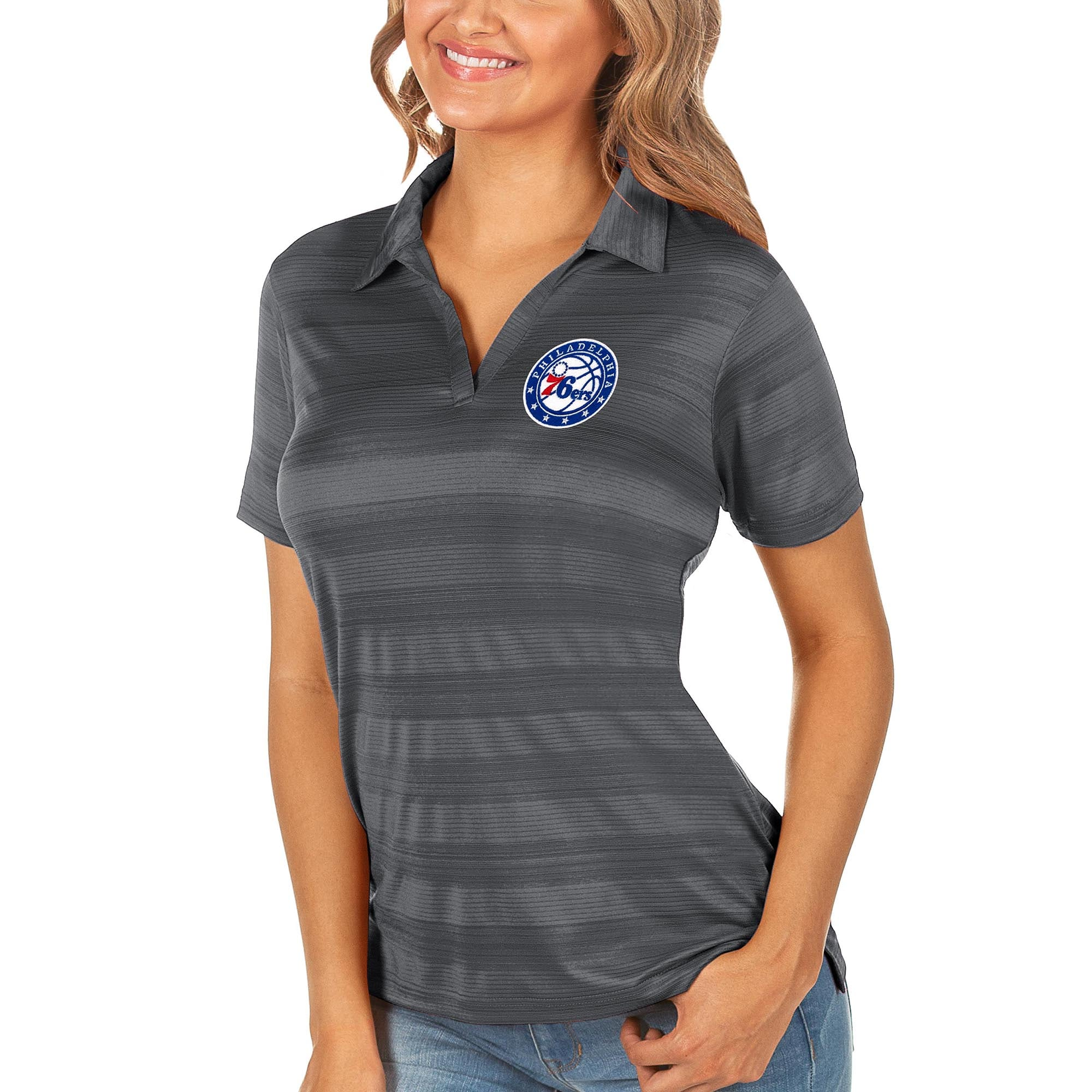 Philadelphia 76ers Antigua Women's Compass Polo - Gray