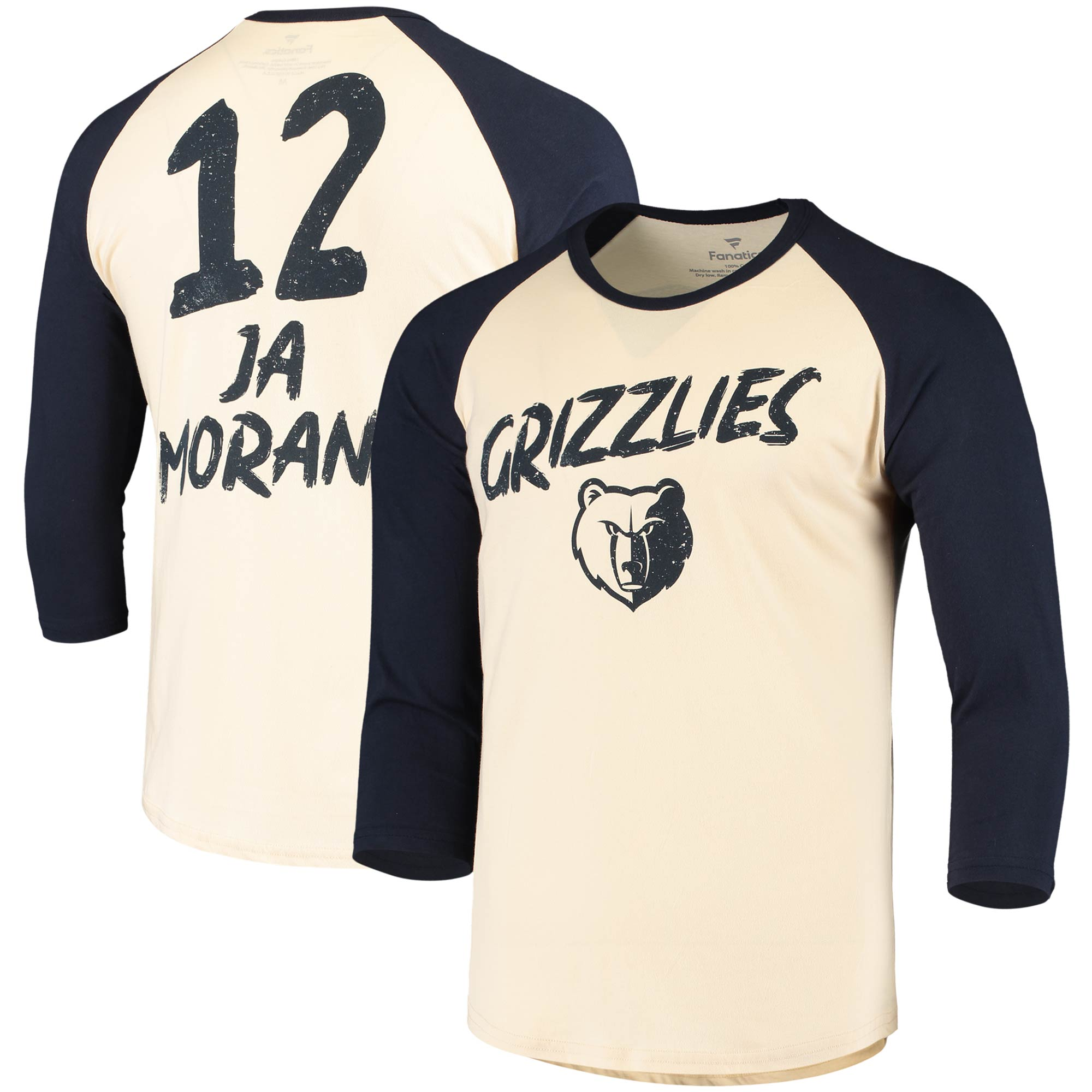 Ja Morant Memphis Grizzlies Fanatics Branded Raglan 3/4 Sleeve T-Shirt - Cream/Navy