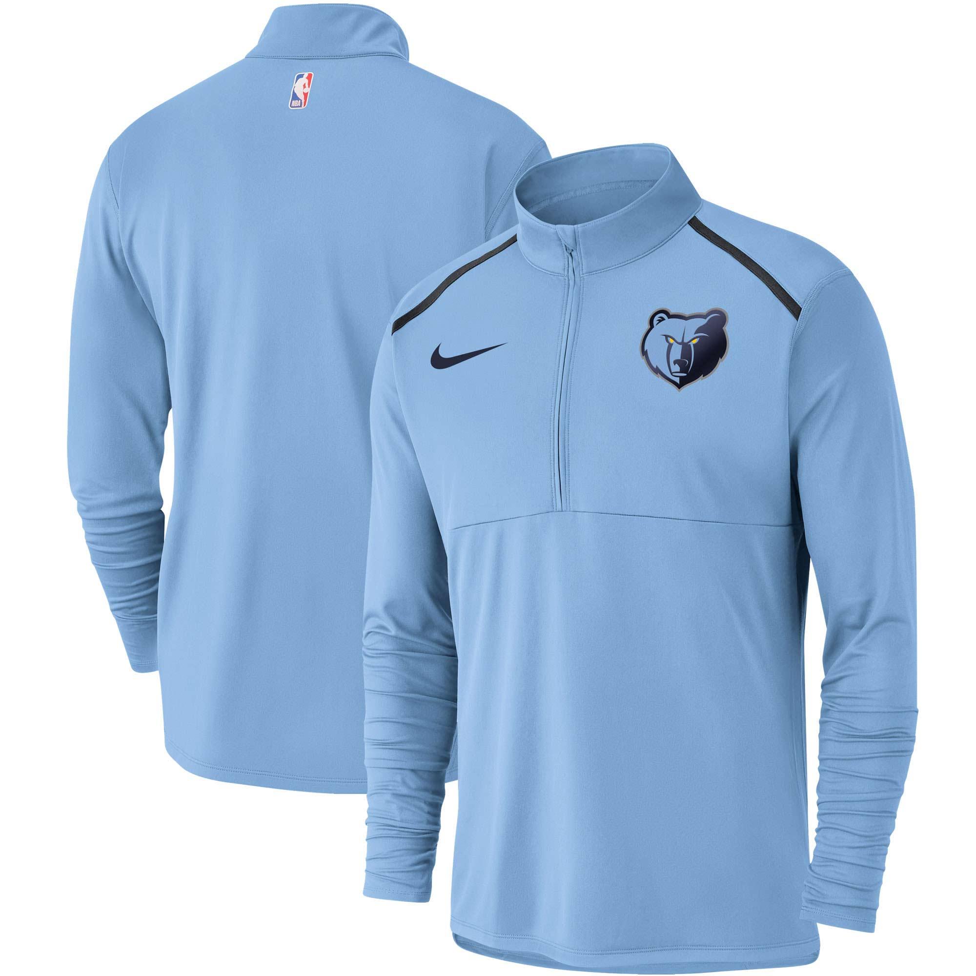 Memphis Grizzlies Nike Element Performance Half-Zip Pullover Jacket - Light Blue