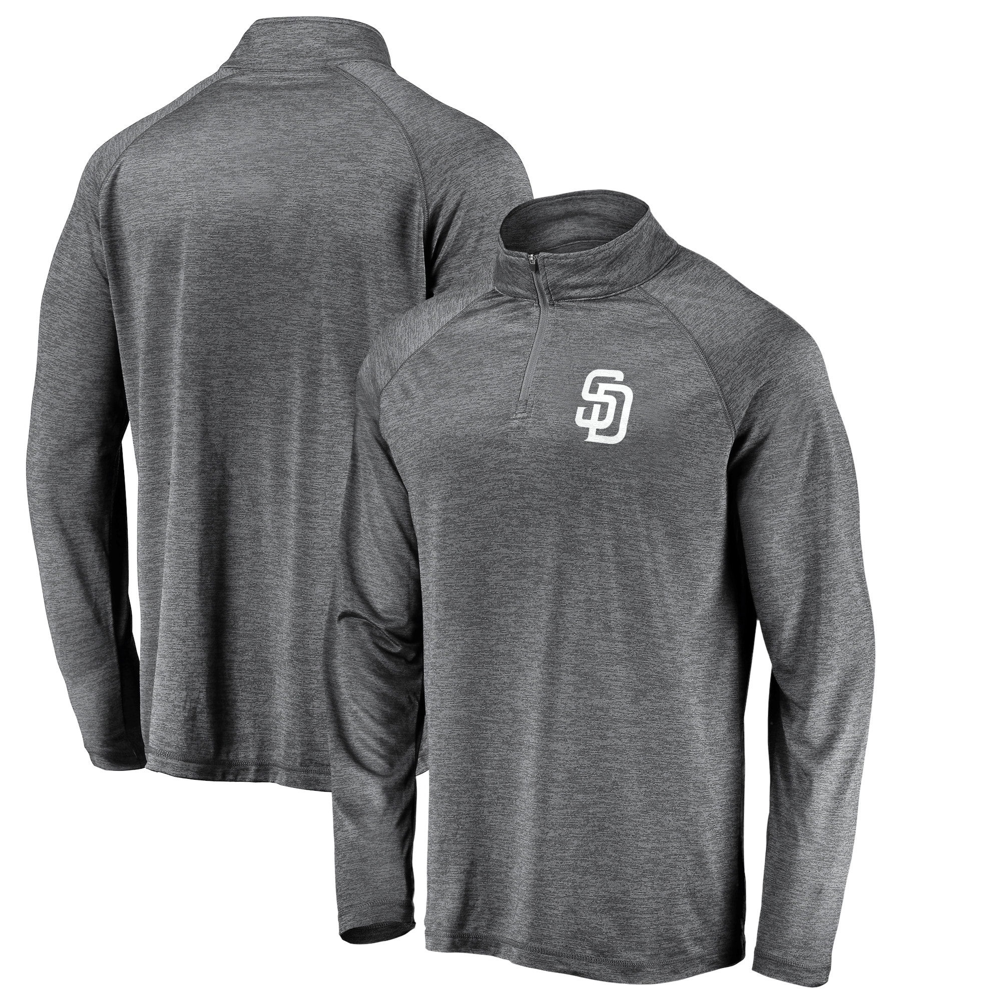 San Diego Padres Fanatics Branded Iconic Striated Primary Logo Raglan Quarter-Zip Pullover Jacket - Gray