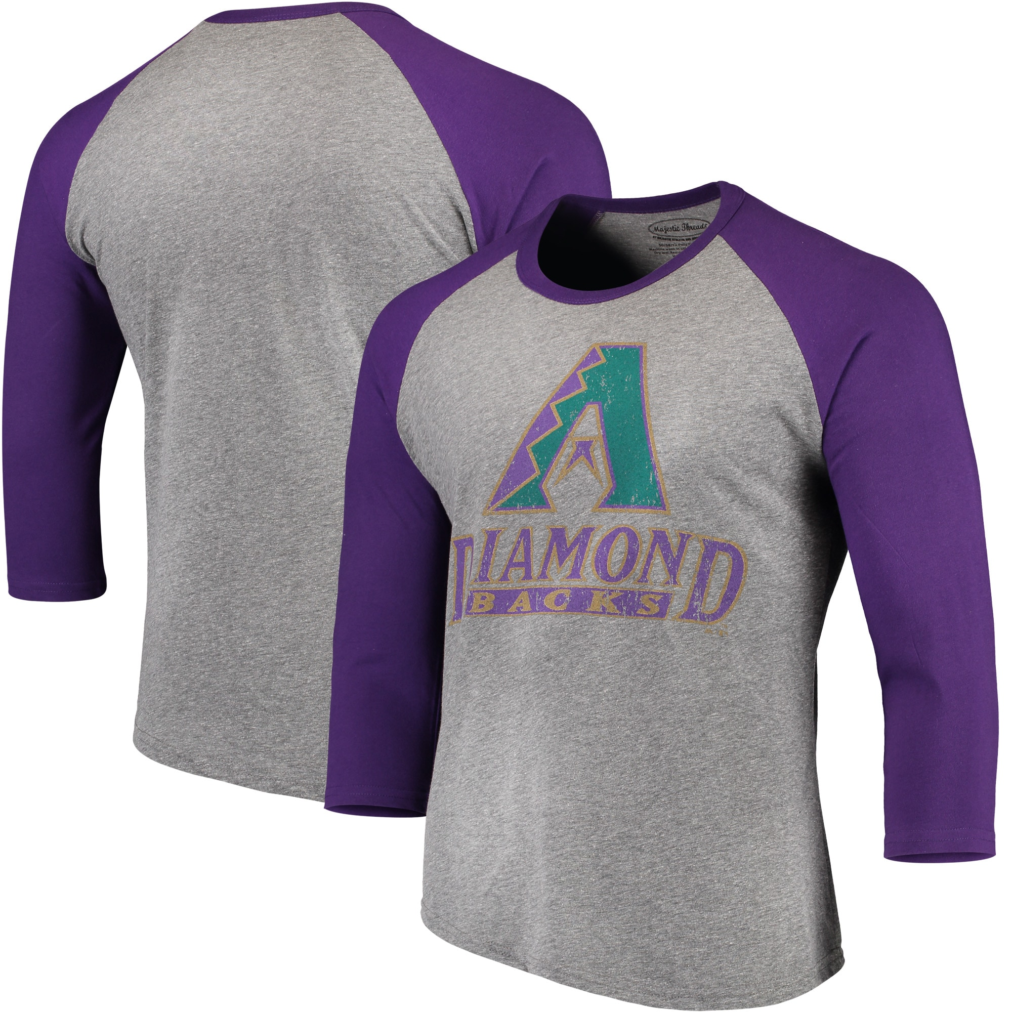 Arizona Diamondbacks Majestic Threads Cooperstown Collection 3/4-Sleeve Raglan Tri-Blend T-Shirt - Heathered Gray/Purple