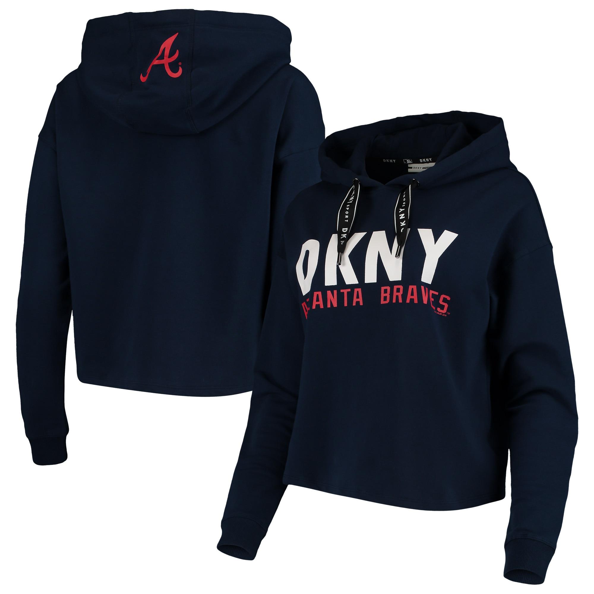 Atlanta Braves DKNY Sport Women's The Maddie Pullover Hoodie - Navy