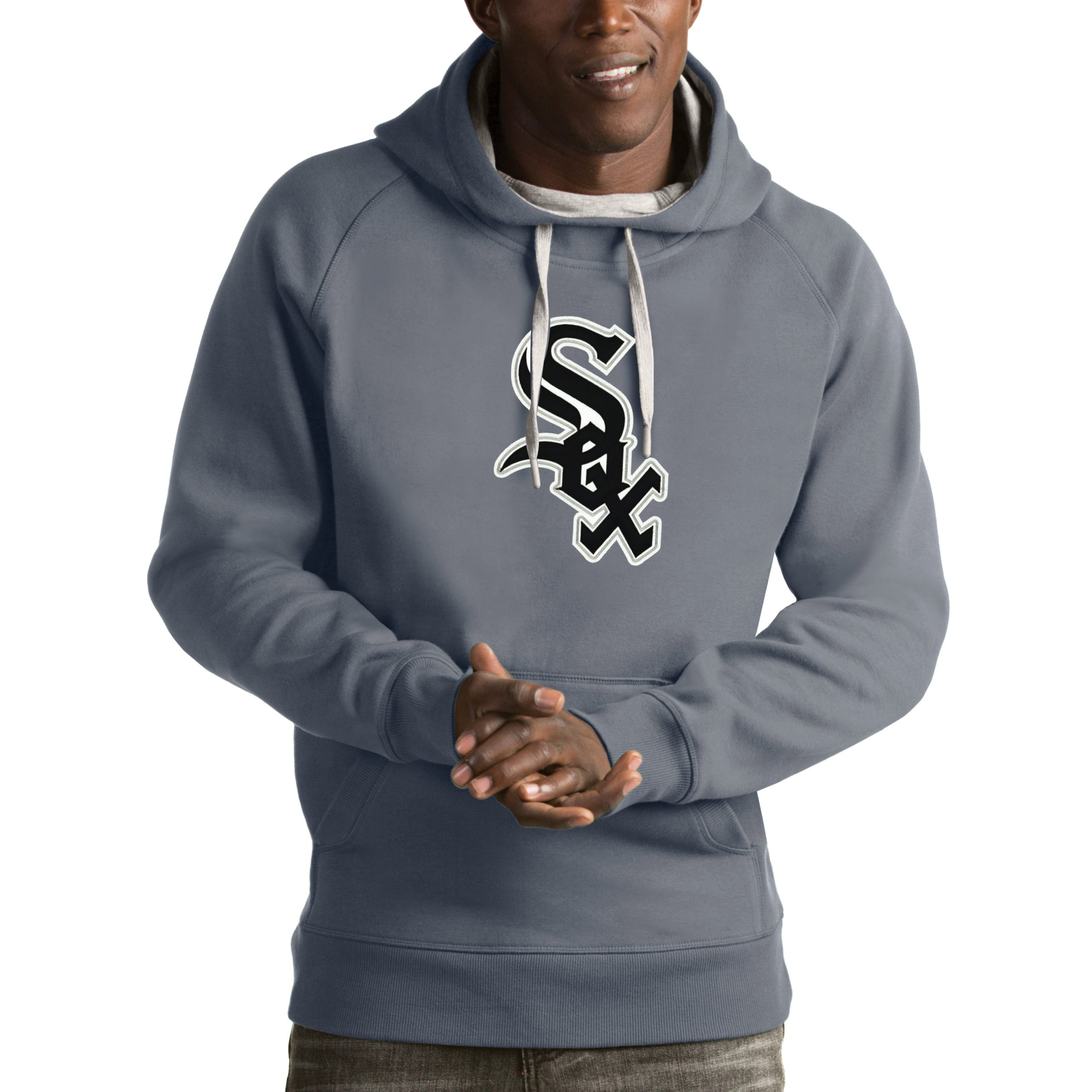 Chicago White Sox Antigua Victory Pullover Hoodie - Heathered Gray