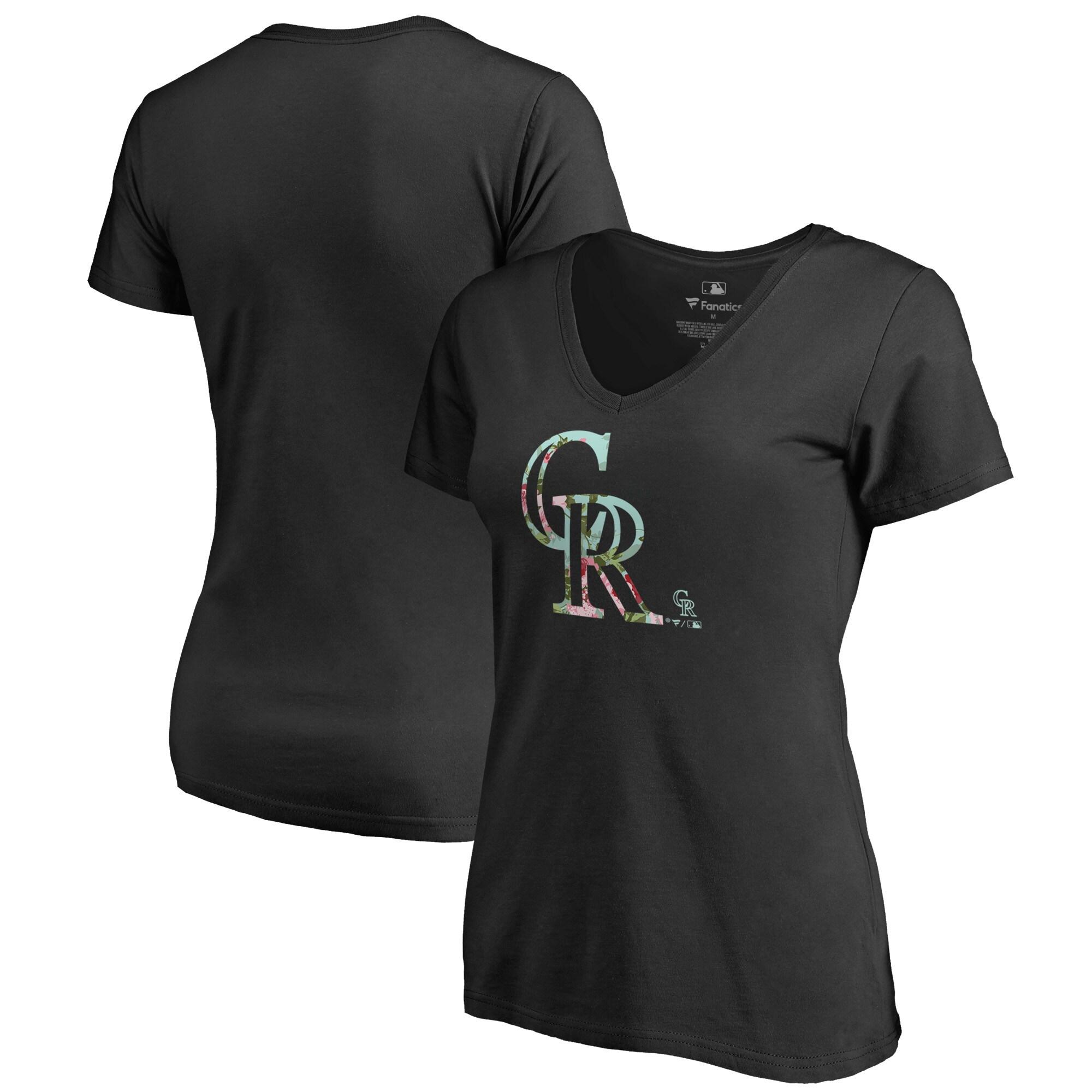 Colorado Rockies Fanatics Branded Women's Lovely Plus Size V-Neck T-Shirt - Black