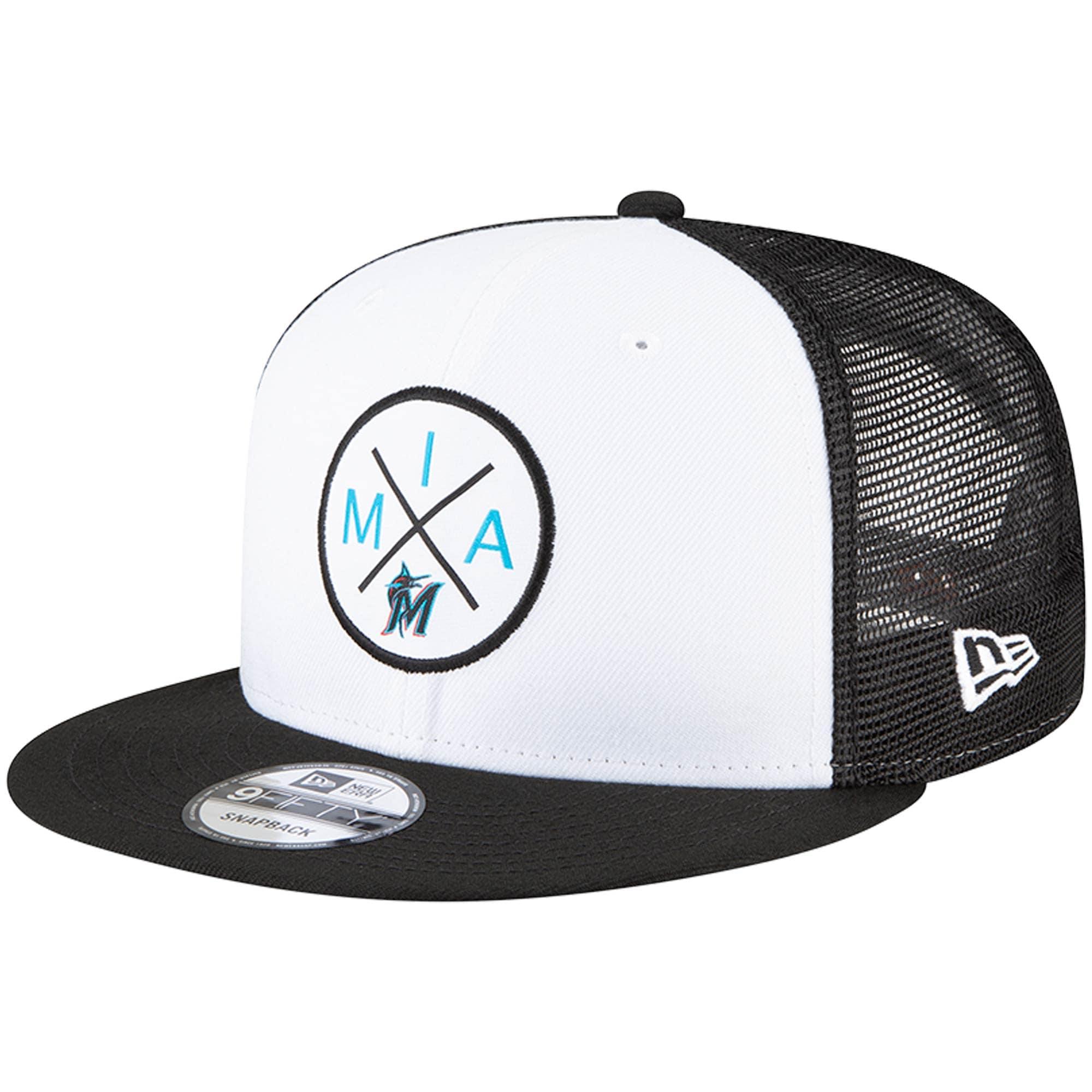 Miami Marlins New Era Vert 2.0 9FIFTY Trucker Snapback Hat - White/Black
