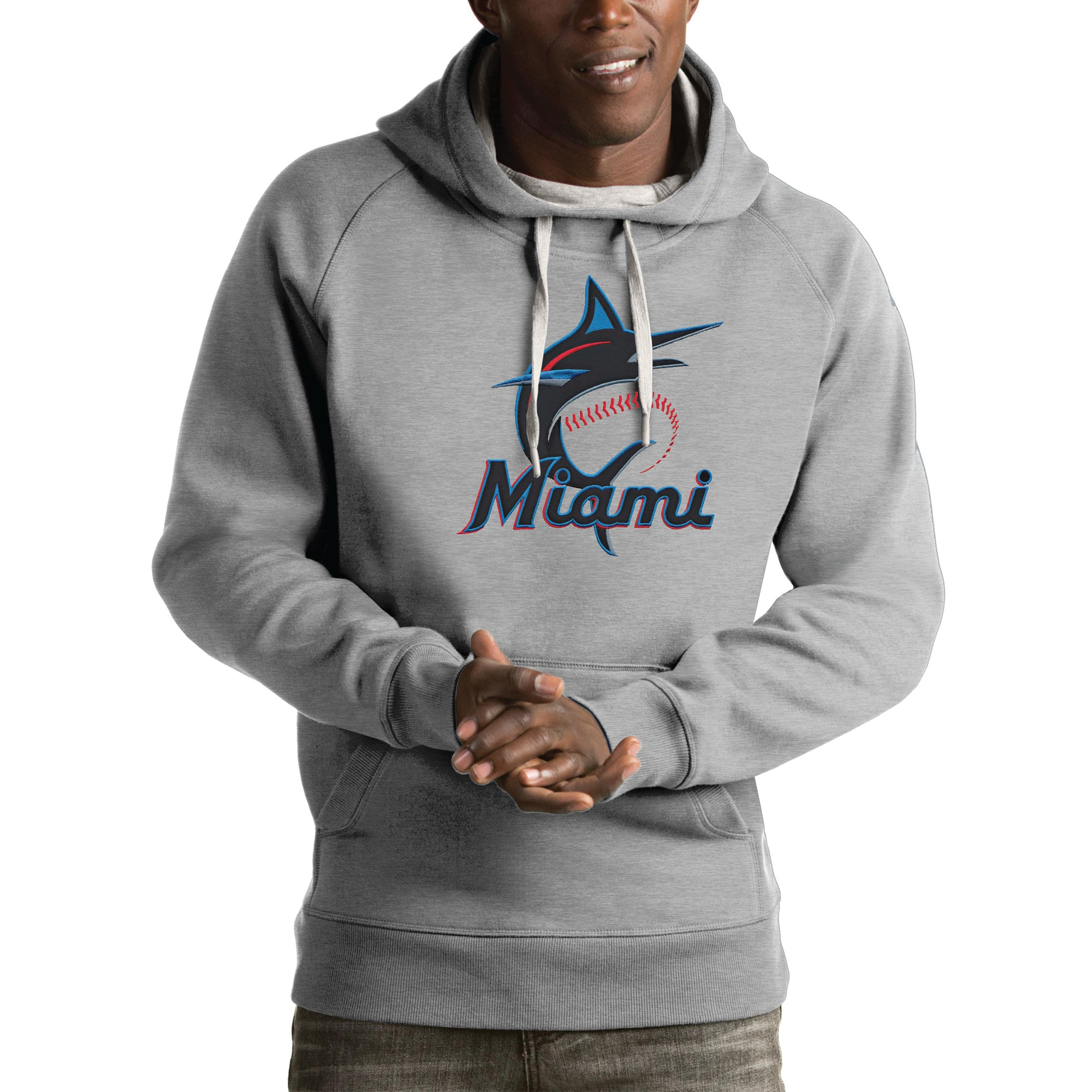 Miami Marlins Antigua Victory Pullover Hoodie - Heathered Gray
