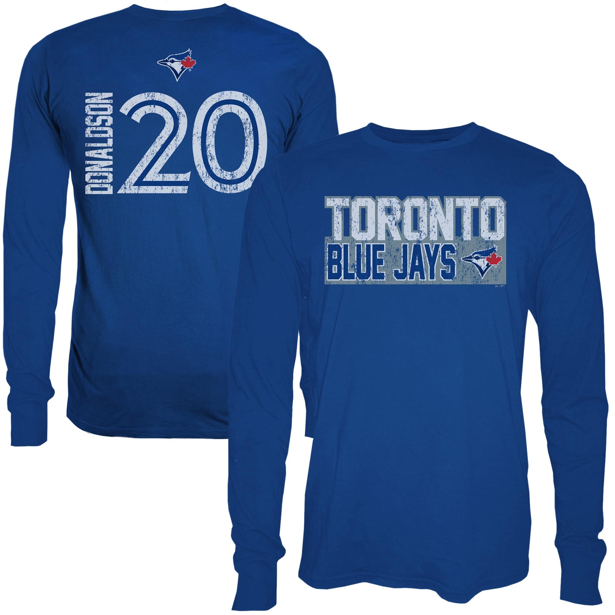 Josh Donaldson Toronto Blue Jays Majestic Threads Sidewinder Name & Number Long Sleeve T-Shirt - Royal