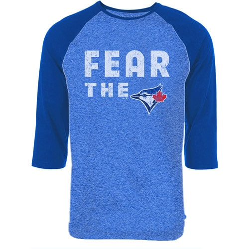 Toronto Blue Jays Majestic Threads Fear The Team Tri-Blend Three-Quarter Sleeve Raglan T-Shirt - Royal