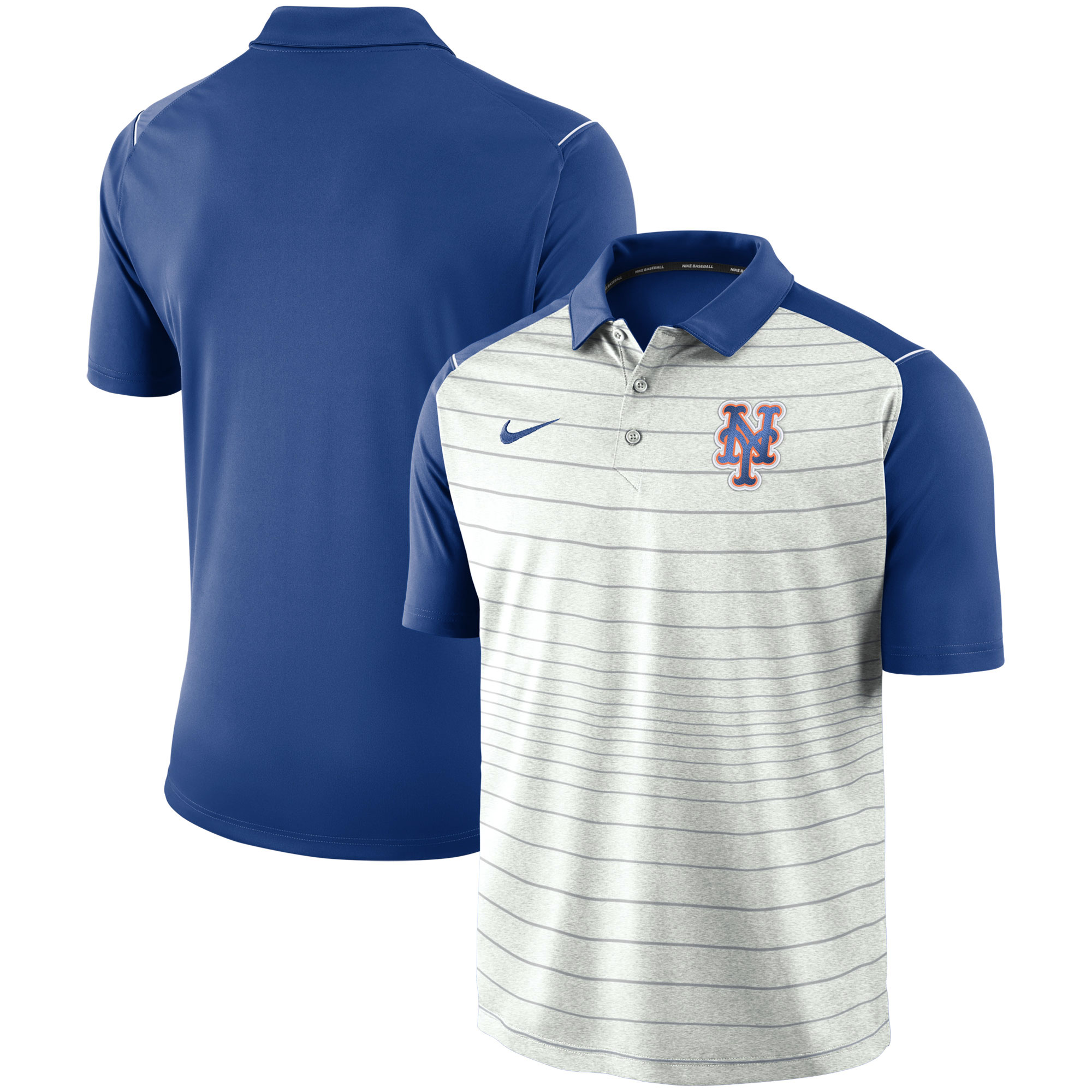 New York Mets Nike Stripe Polo - Gray/Royal