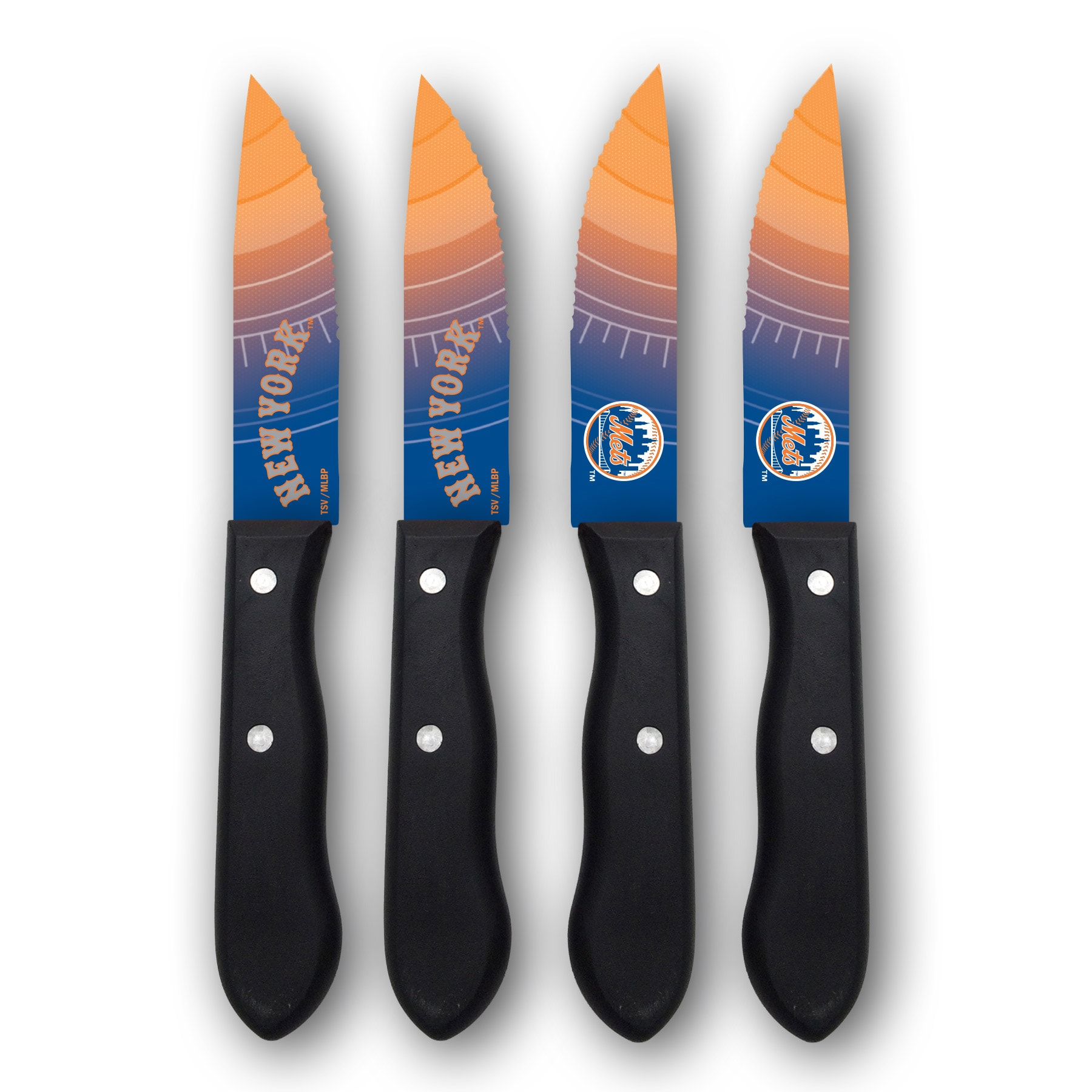 New York Mets Woodrow 4-Piece Stainless Steel Steak Knife Set