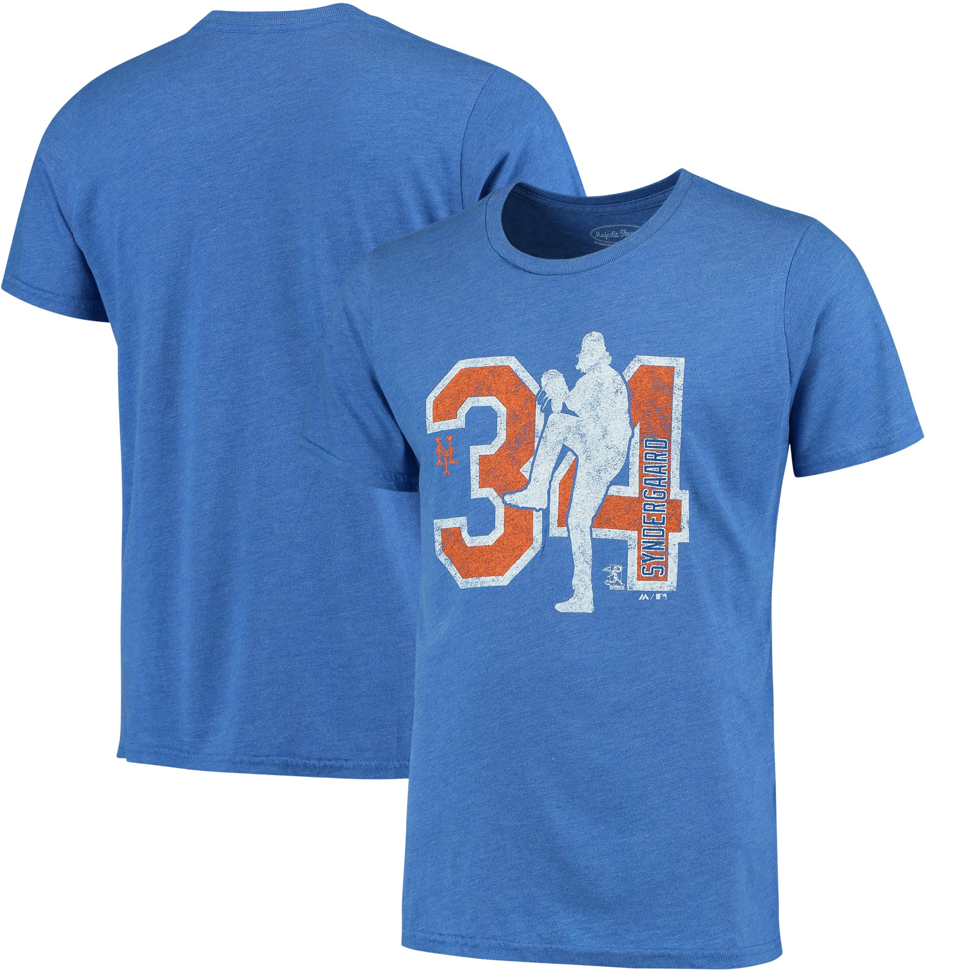 Noah Syndergaard New York Mets Majestic Threads Player Silhouette Tri-Blend T-Shirt - Royal