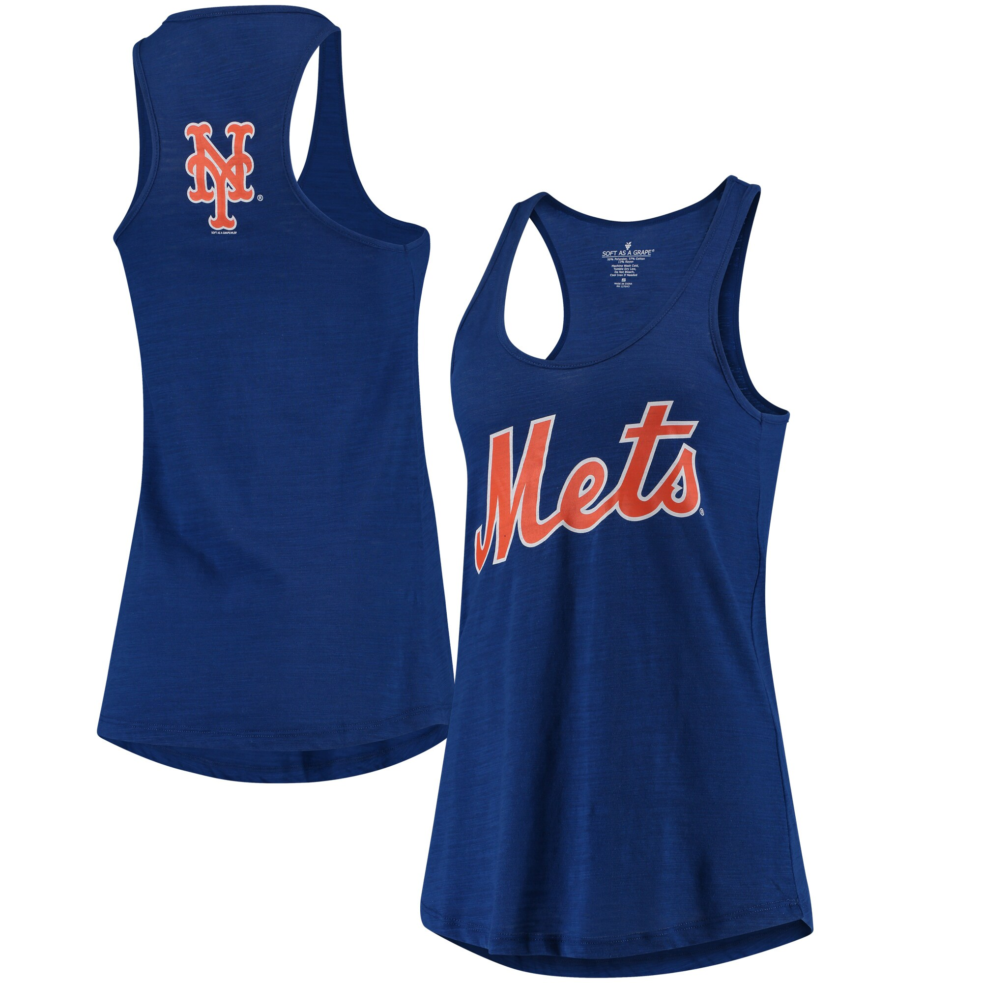 New York Mets Soft As A Grape Women's Front & Back Tri-Blend Racerback Tank Top - Royal