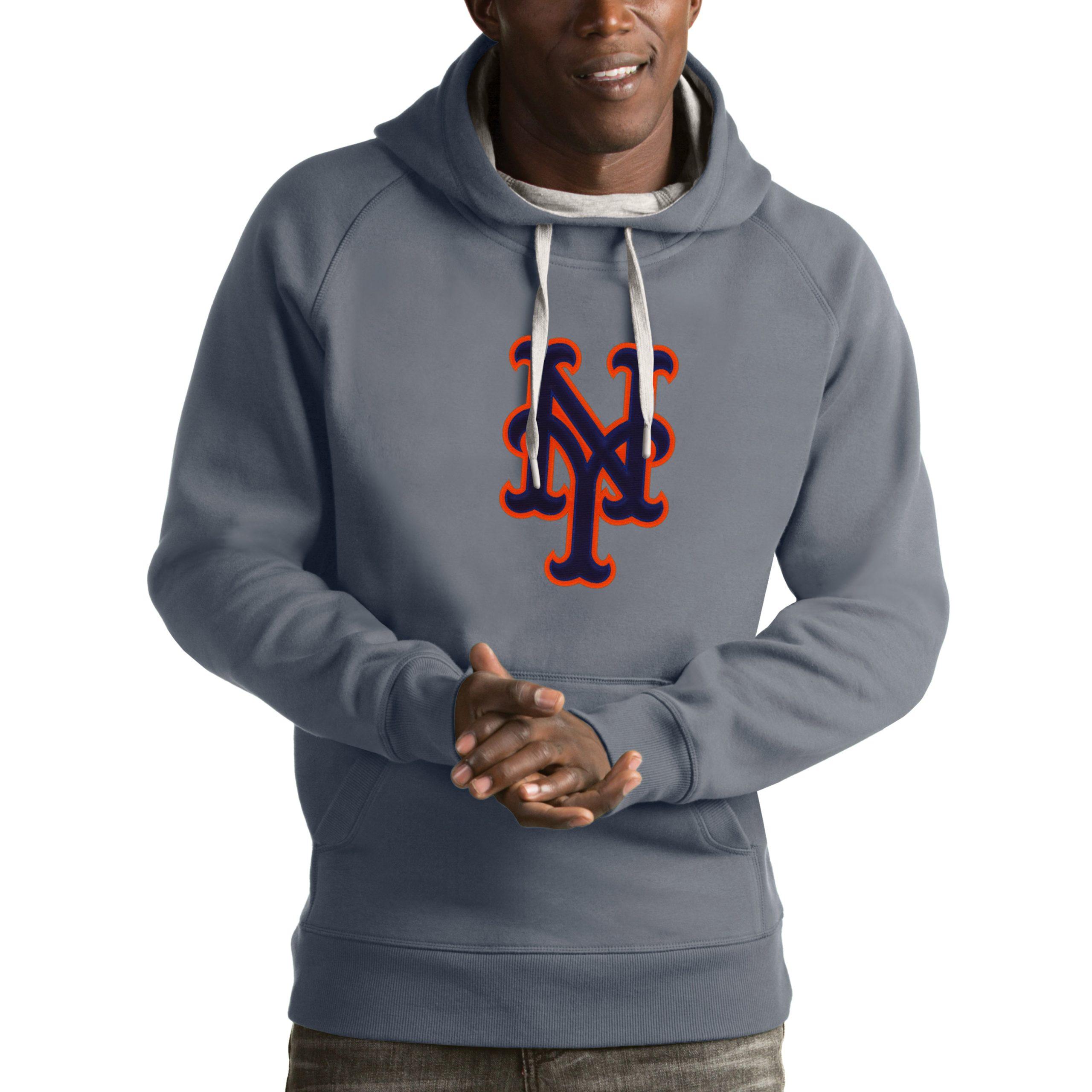 New York Mets Antigua Victory Pullover Hoodie - Heathered Gray