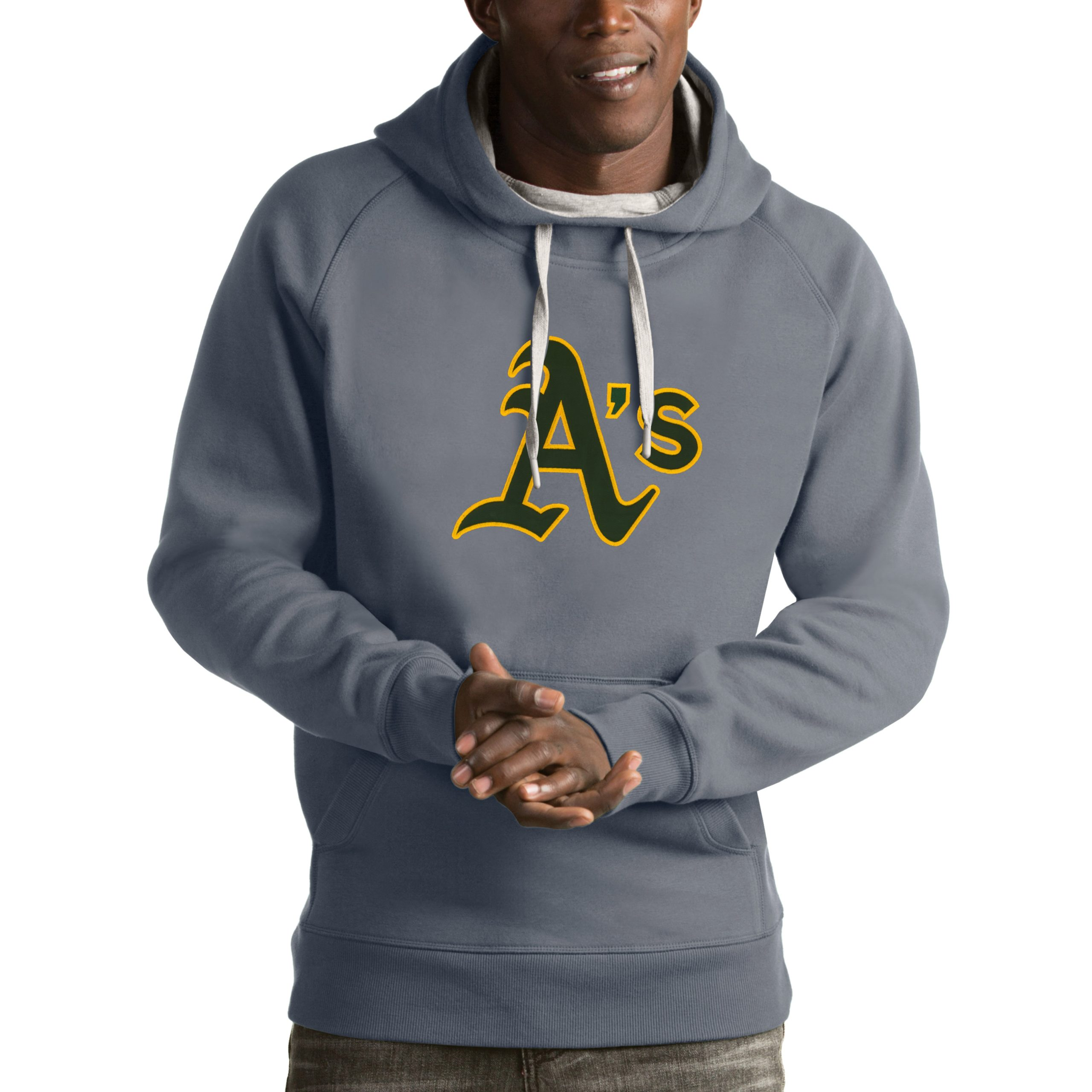 Oakland Athletics Antigua Victory Pullover Hoodie - Heathered Gray