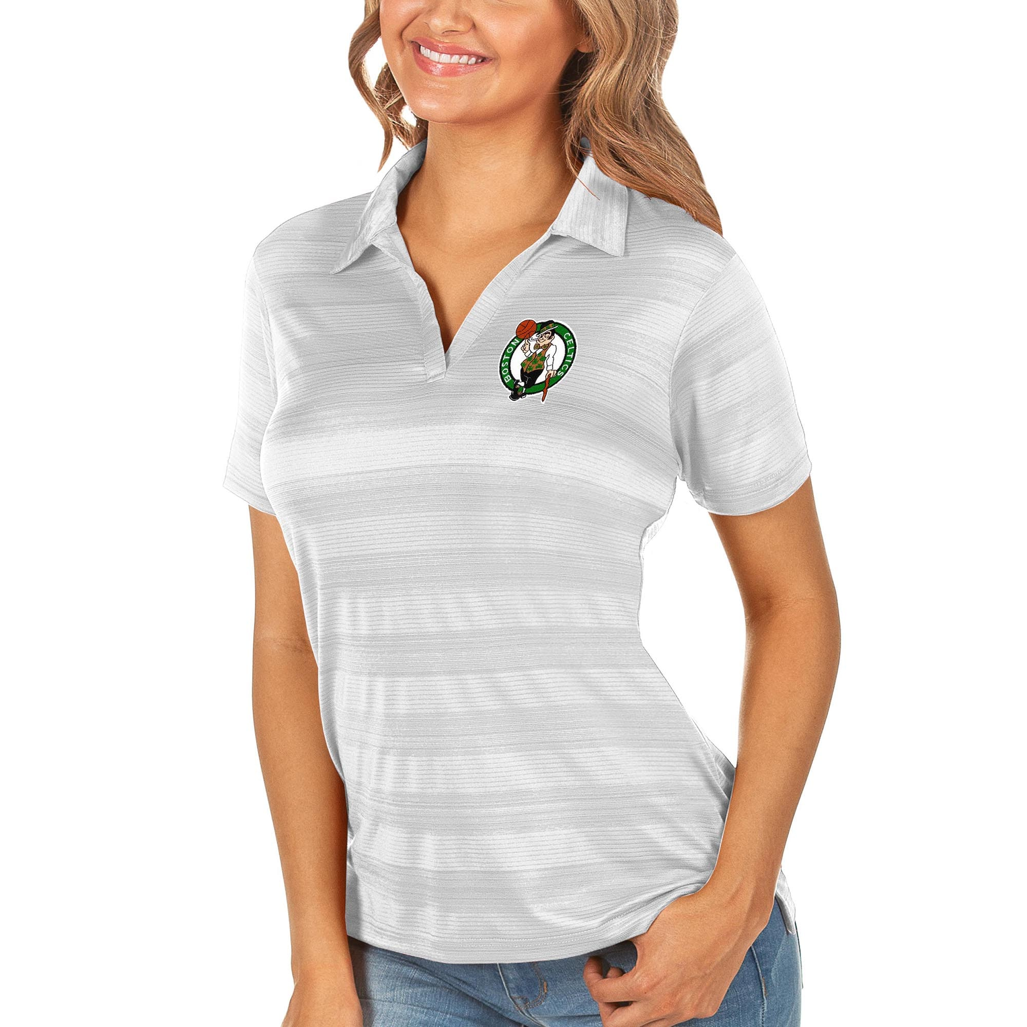 Boston Celtics Antigua Women's Compass Polo - White