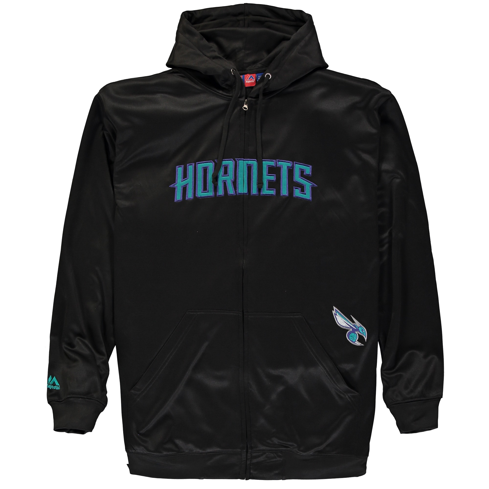 Charlotte Hornets Majestic Big & Tall Delay Thermabase Full-Zip Hoodie - Black