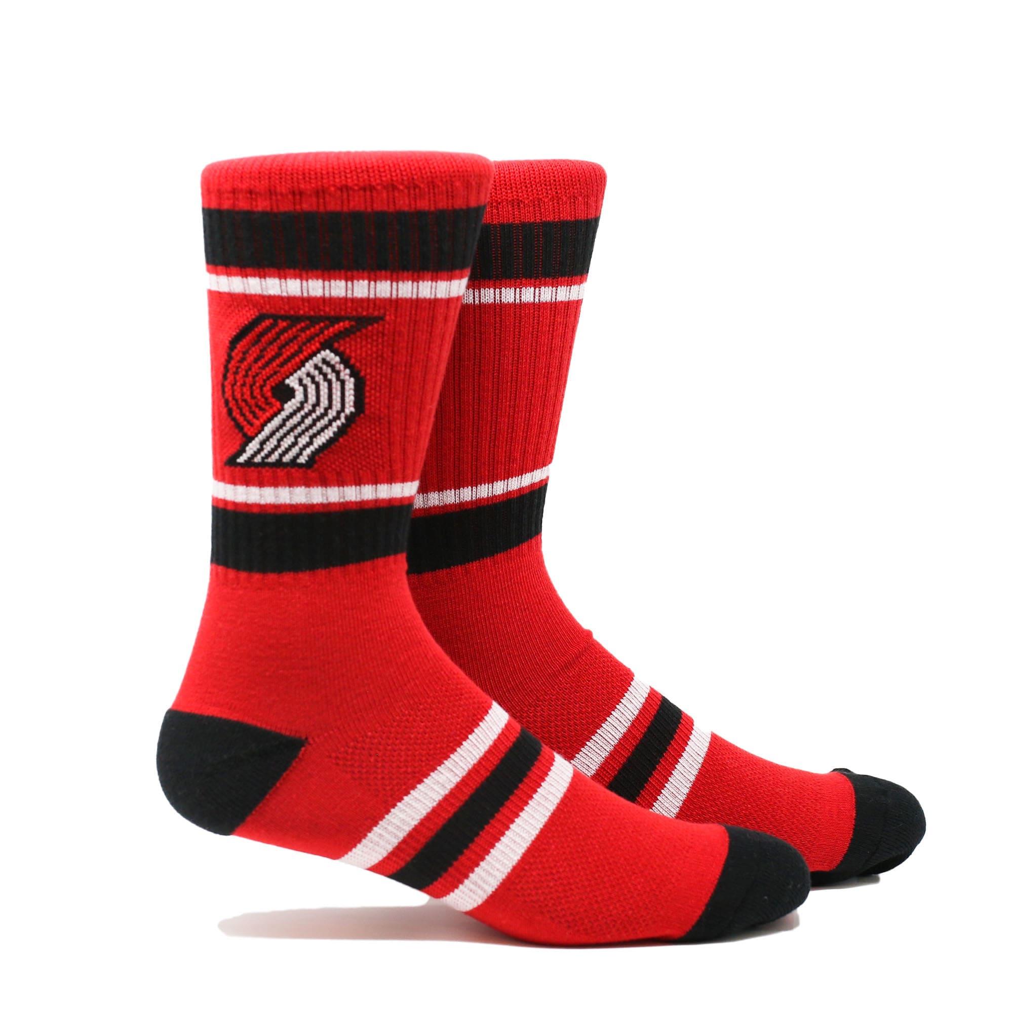 Portland Trail Blazers Stripe Crew Socks - Red