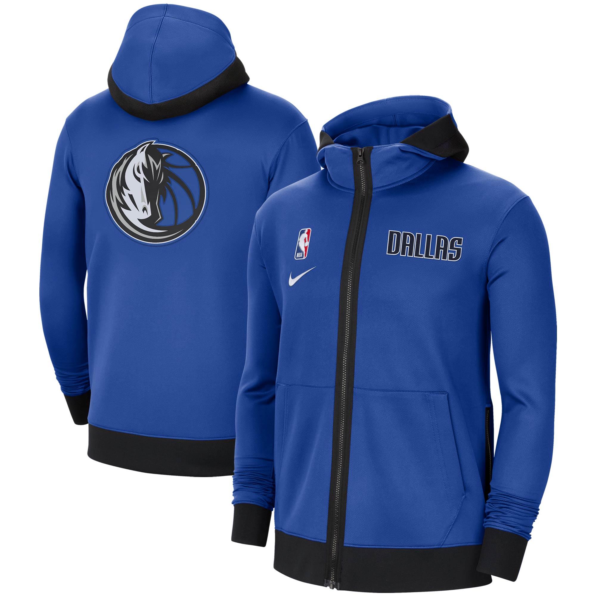 Dallas Mavericks Nike Authentic Showtime Performance Full-Zip Hoodie Jacket - Blue