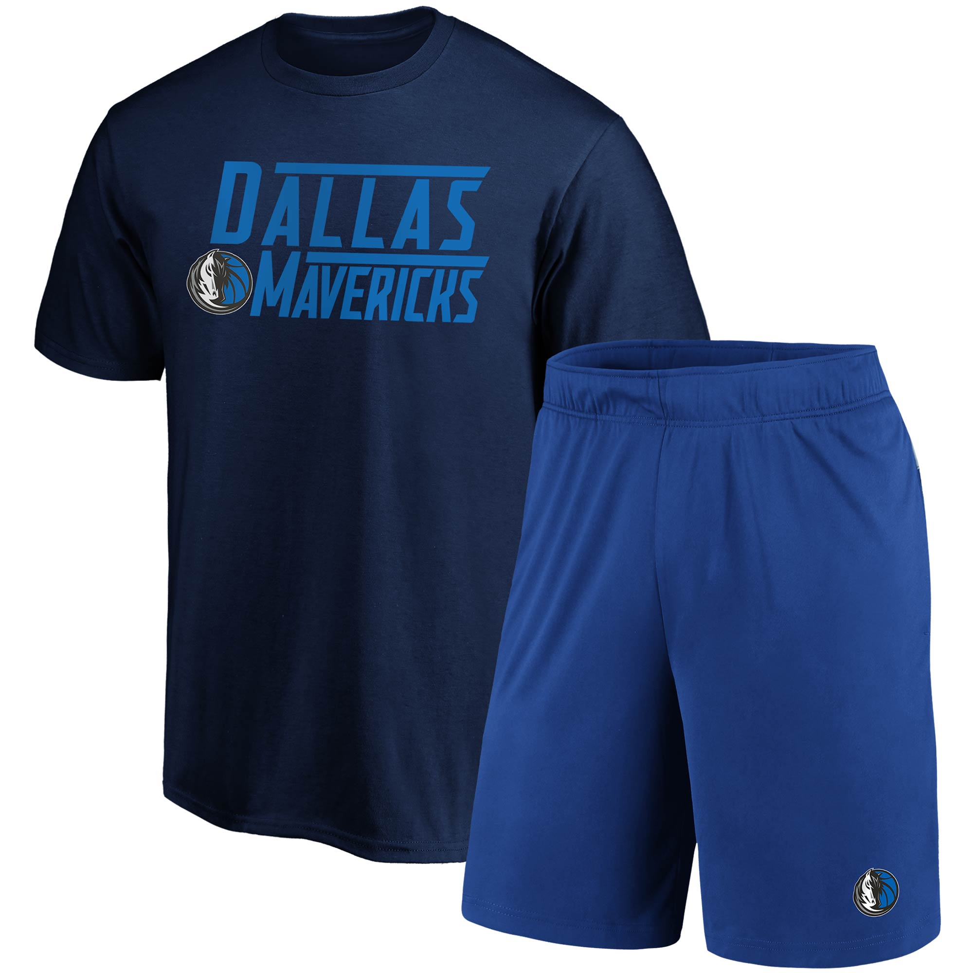 Dallas Mavericks Fanatics Branded T-Shirt & Shorts Combo Pack - Navy/Blue