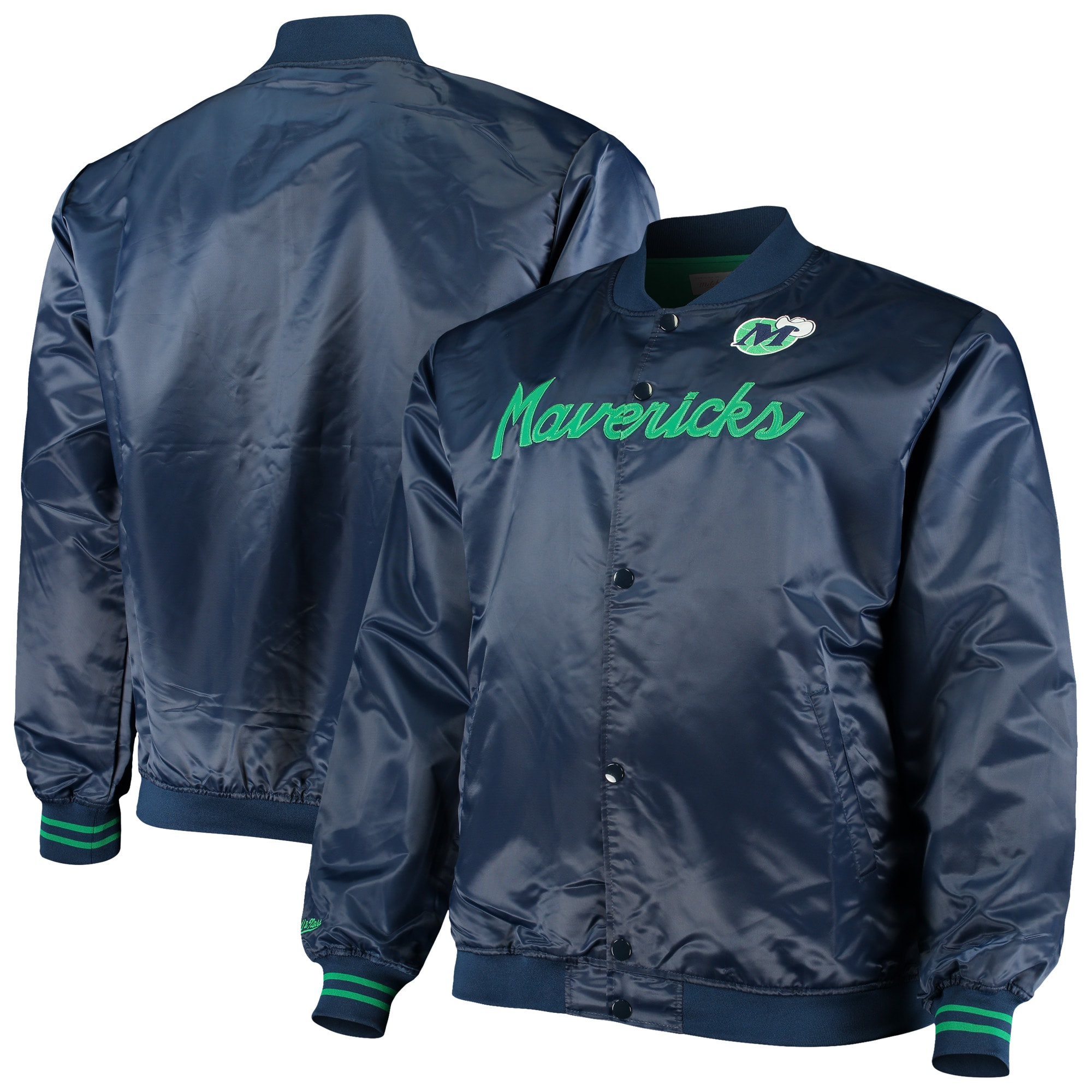 Dallas Mavericks Mitchell & Ness Hardwood Classics Satin Full-Snap Jacket - Navy