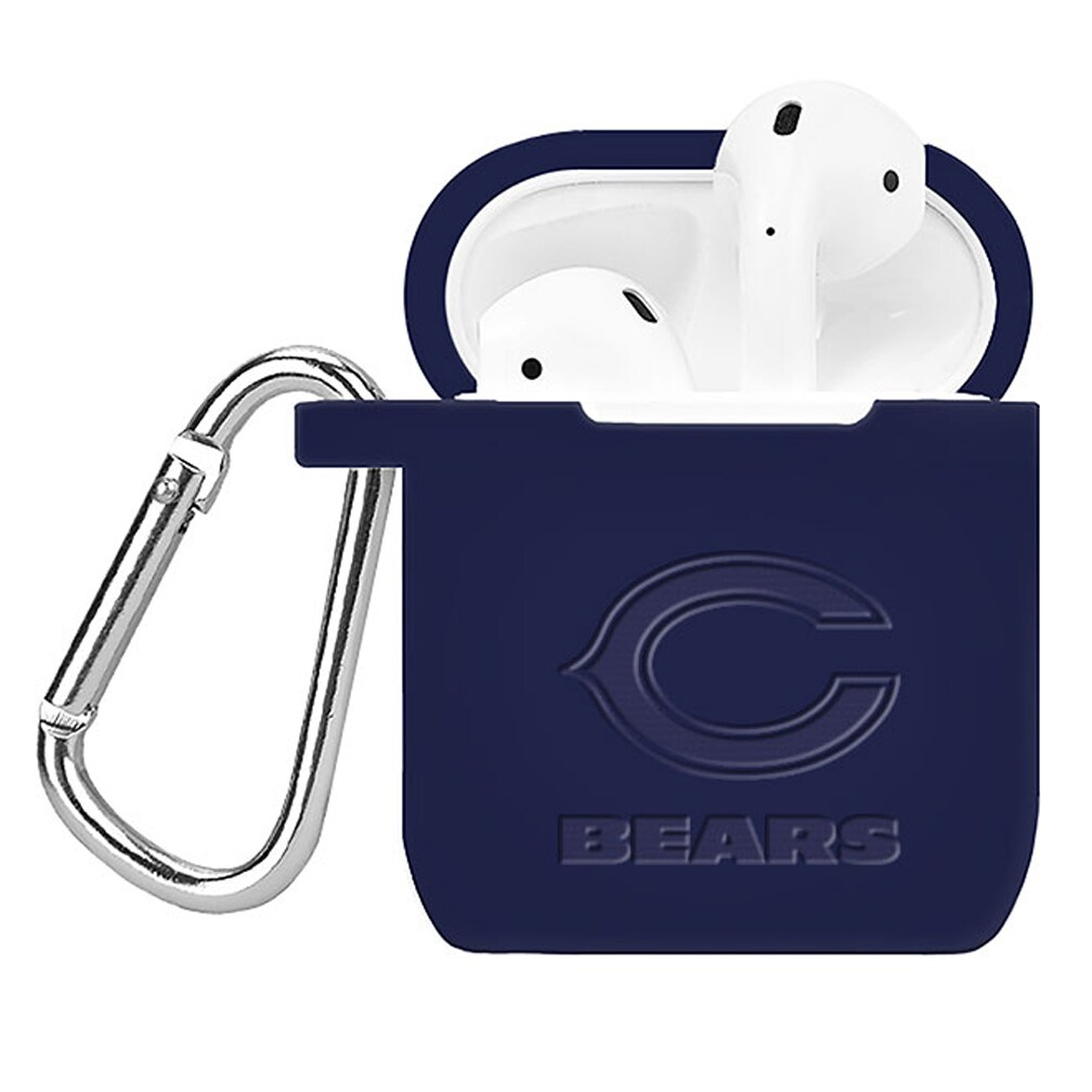 Chicago Bears Debossed Silicone Air Pods Case Cover - Navy