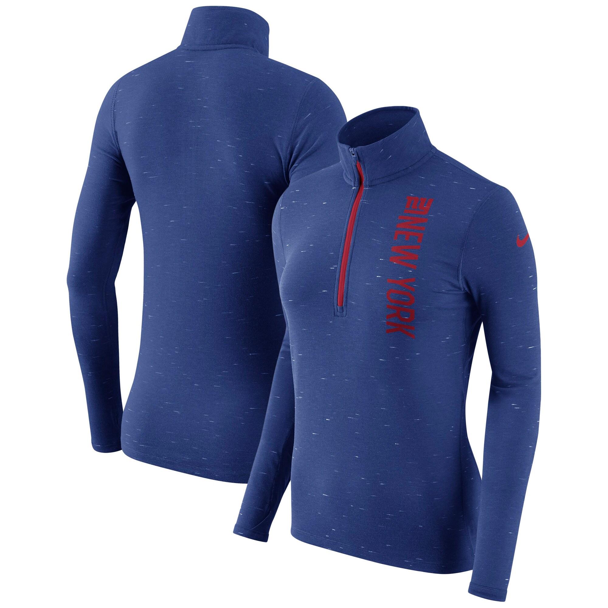 New York Giants Nike Women's Element Half-Zip Wordmark Performance Jacket - Heathered Royal