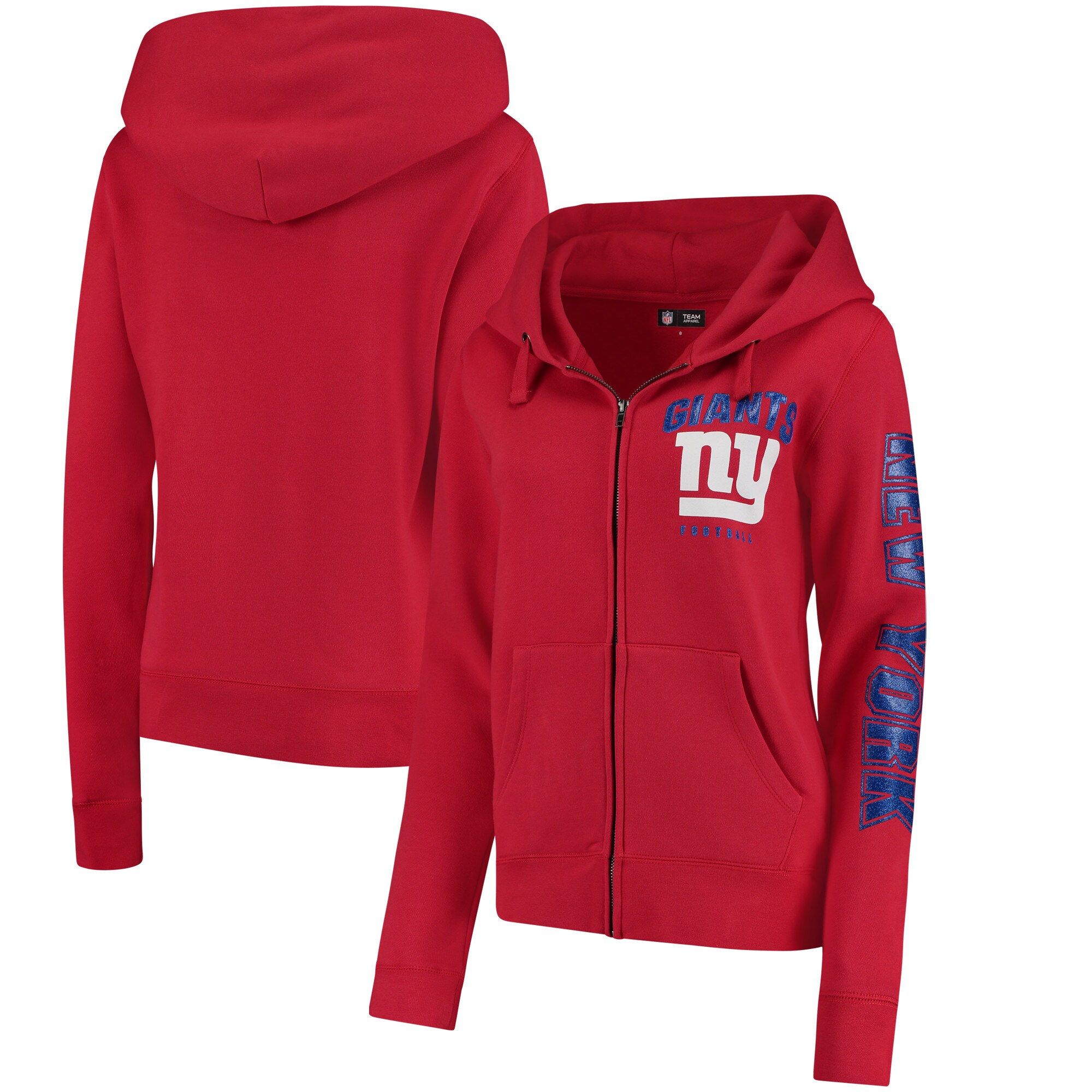 New York Giants New Era Women's Playbook Glitter Sleeve Full-Zip Hoodie - Red