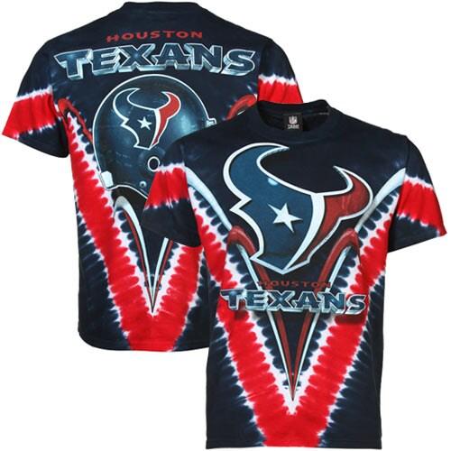 Houston Texans Majestic V Tie-Dye T-Shirt - Navy