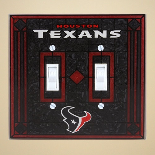 Houston Texans Art-Glass Double Switch Plate Cover - Black