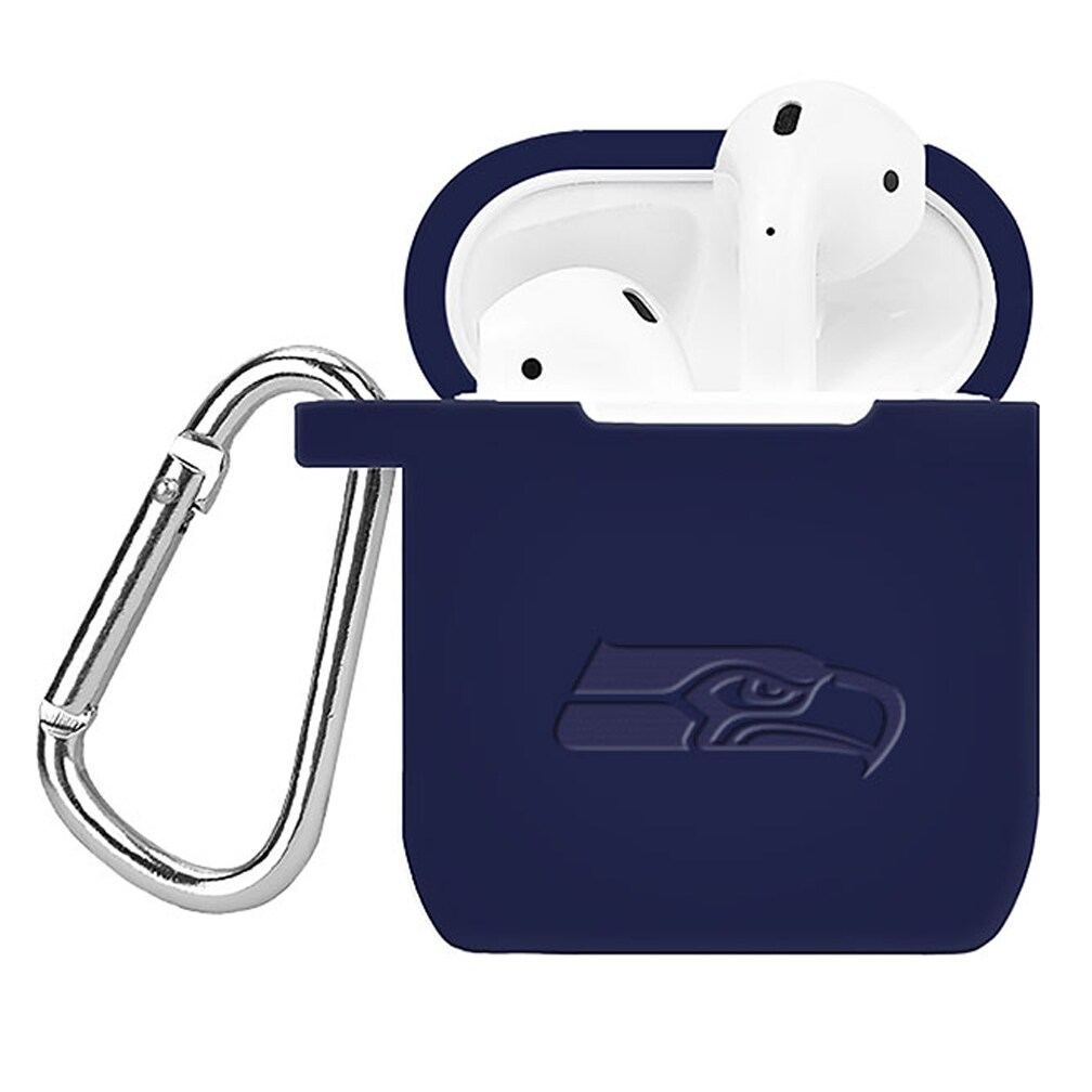 Seattle Seahawks Debossed Silicone Air Pods Case Cover - Navy