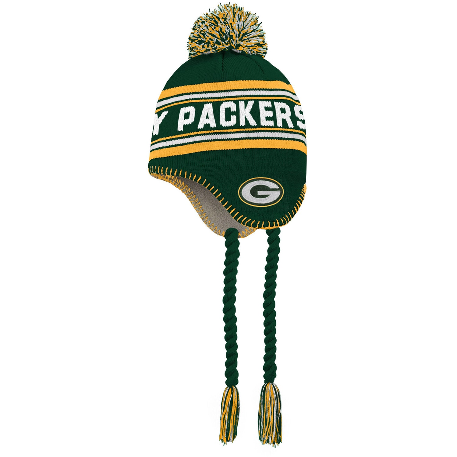 Green Bay Packers Preschool Jacquard Tassel Knit Hat with Pom - Green/Gold