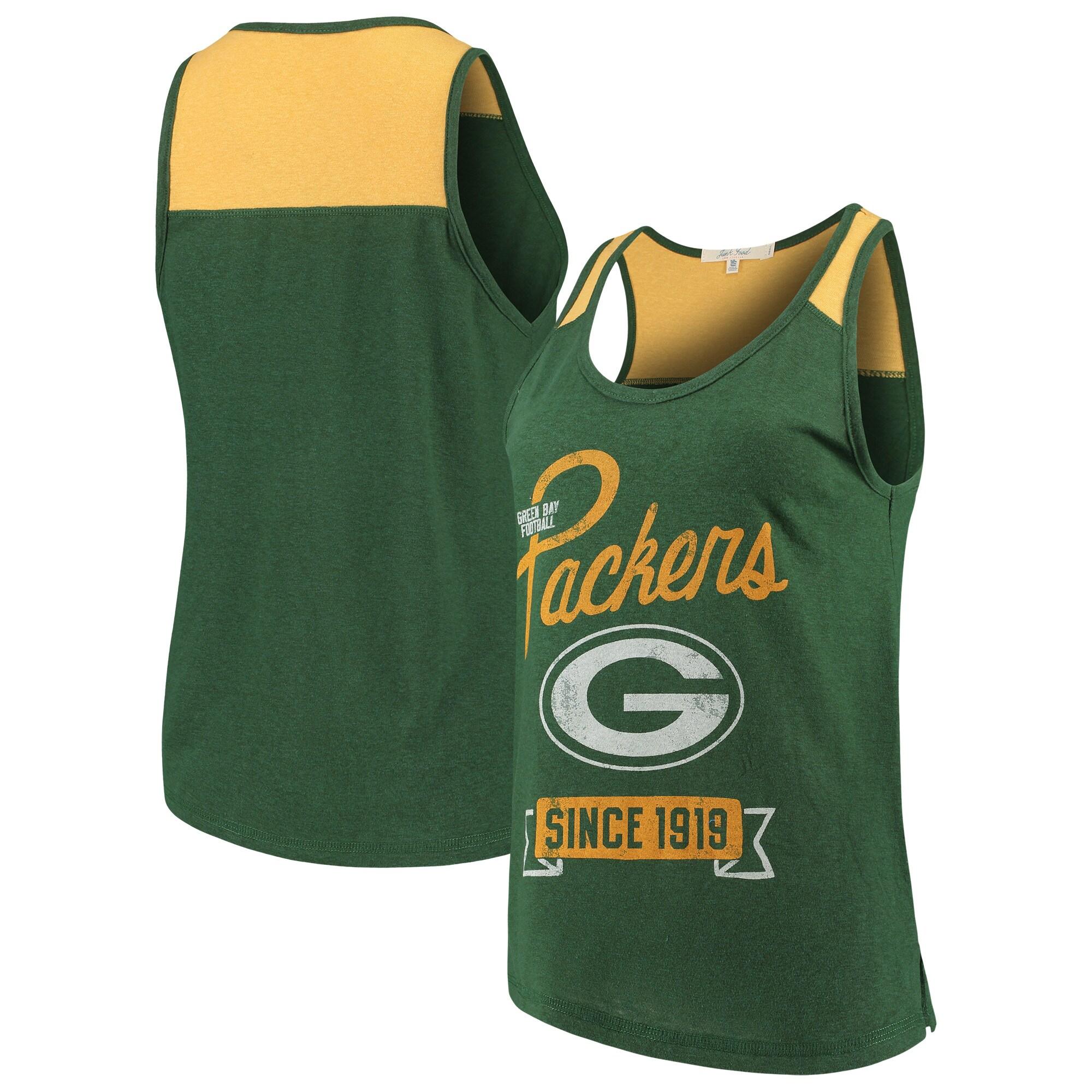 Green Bay Packers Junk Food Women's Sideline Tank Top - Green