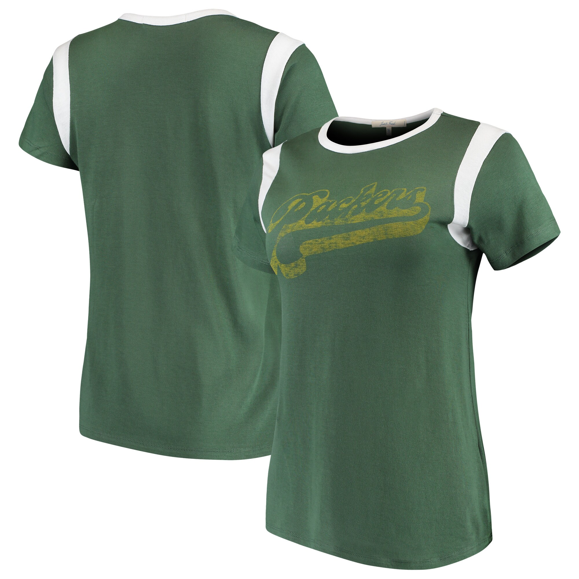 Green Bay Packers Junk Food Women's Retro Sport T-Shirt - Green/White
