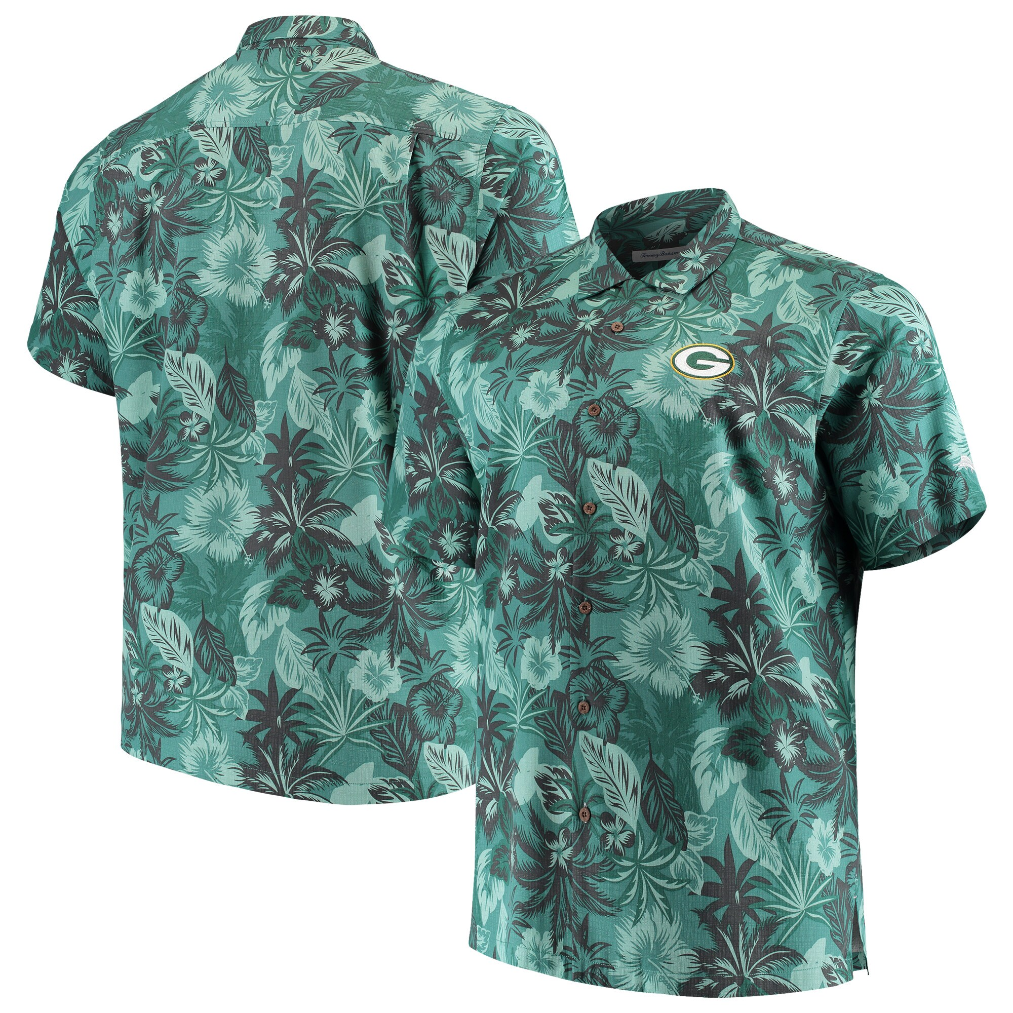 Green Bay Packers Tommy Bahama Big & Tall Fuego Floral Button-Up Shirt - Green